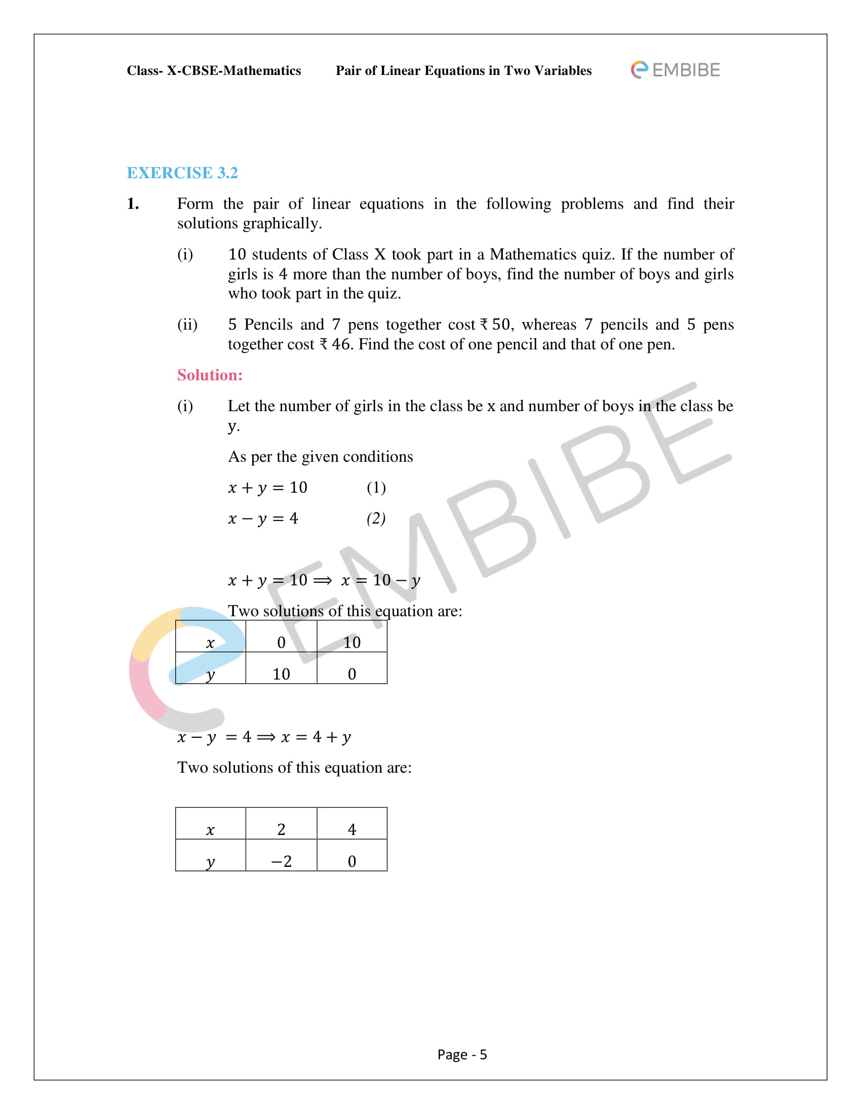 CBSE NCERT Solutions For Class 10 Maths Chapter 3 - Pair of Linear Equations In Two Variables - 5