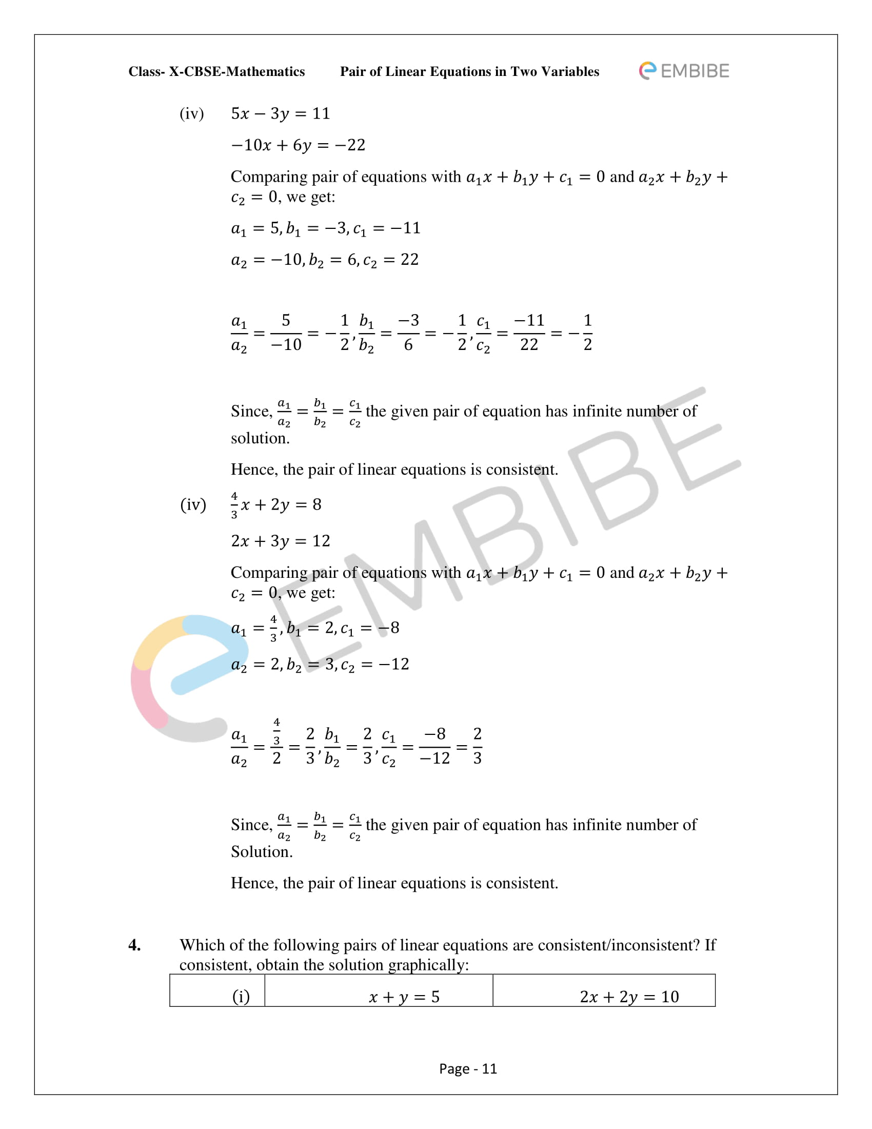 CBSE NCERT Solutions For Class 10 Maths Chapter 3 - Pair of Linear Equations In Two Variables - 11