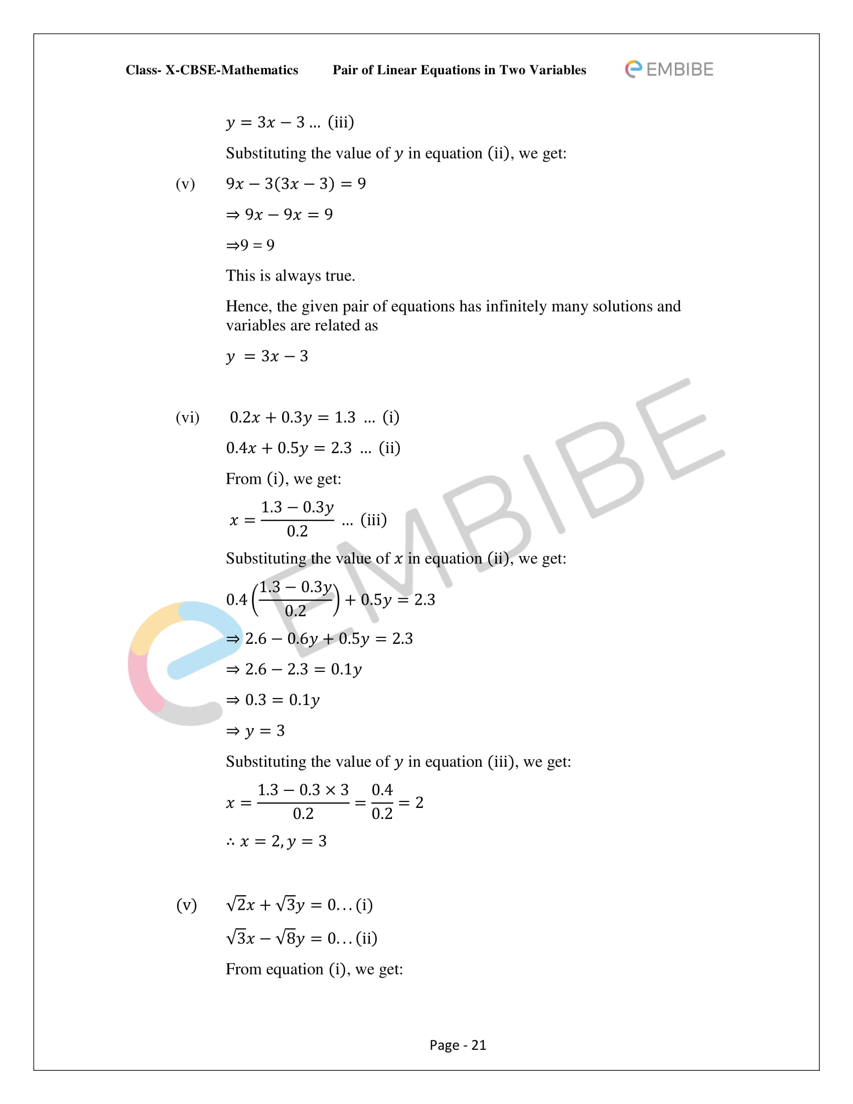 CBSE NCERT Solutions For Class 10 Maths Chapter 3 - Pair of Linear Equations In Two Variables - 21