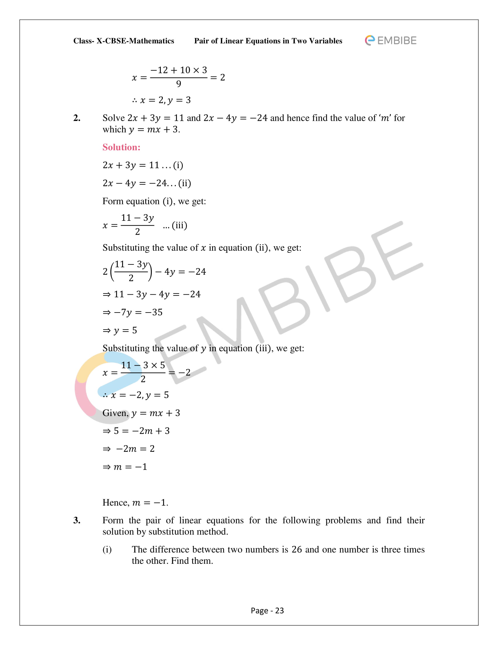 CBSE NCERT Solutions For Class 10 Maths Chapter 3 - Pair of Linear Equations In Two Variables - 23