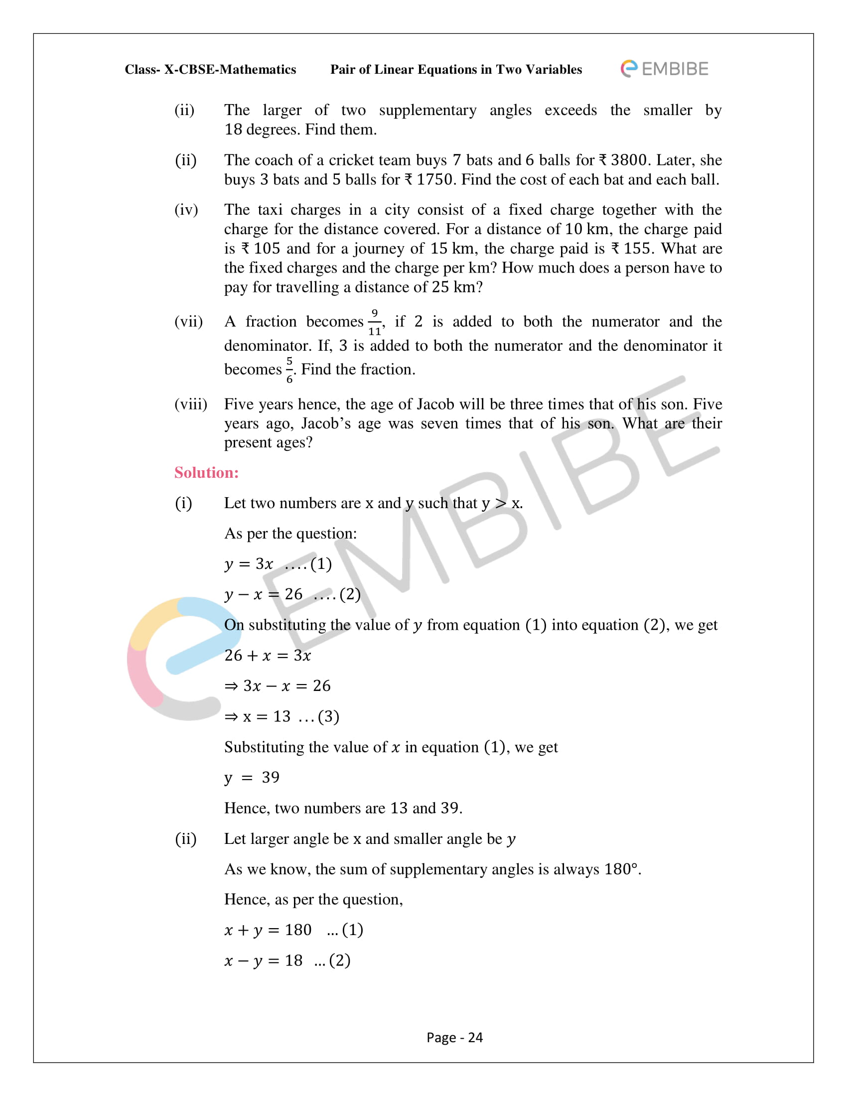 CBSE NCERT Solutions For Class 10 Maths Chapter 3 - Pair of Linear Equations In Two Variables - 24