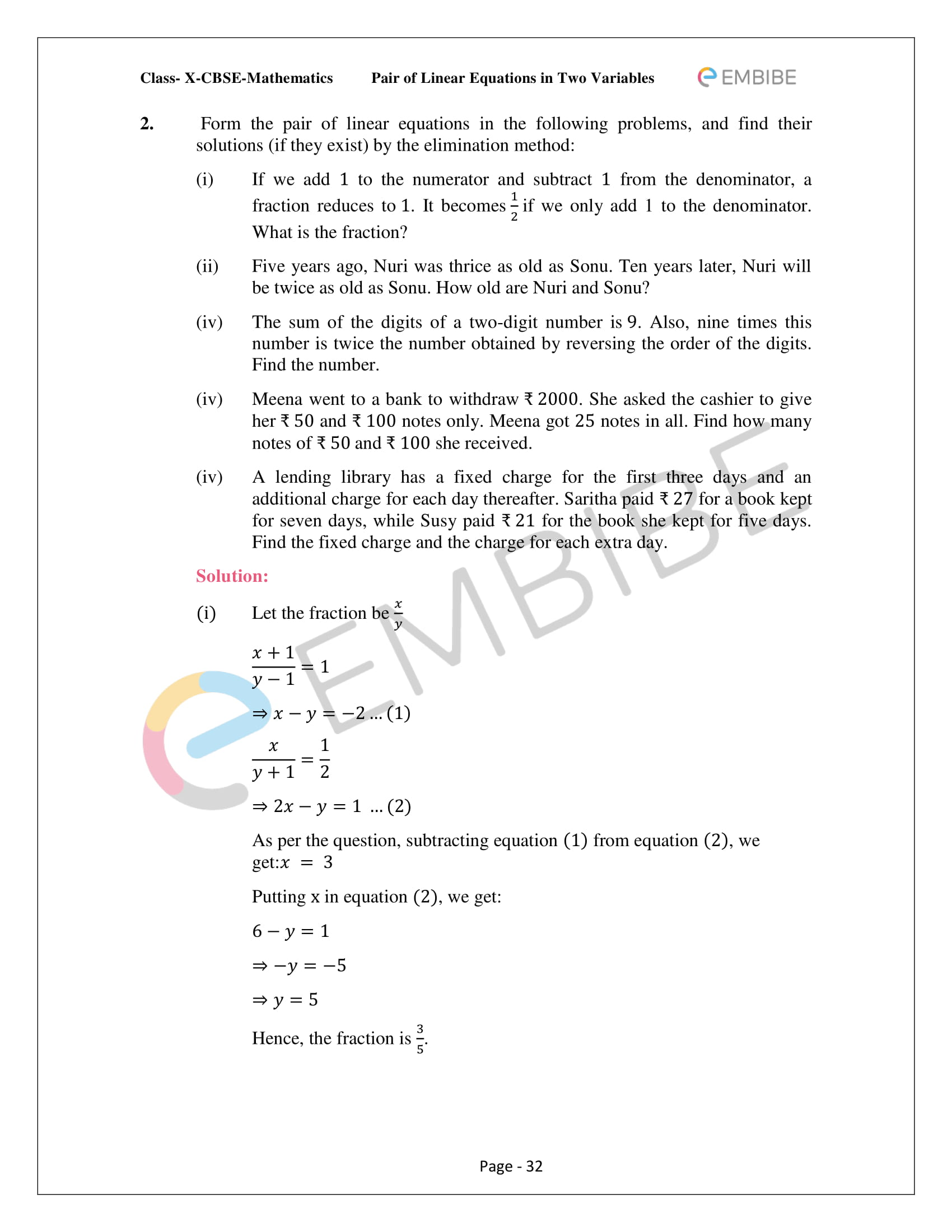 CBSE NCERT Solutions For Class 10 Maths Chapter 3 - Pair of Linear Equations In Two Variables - 32