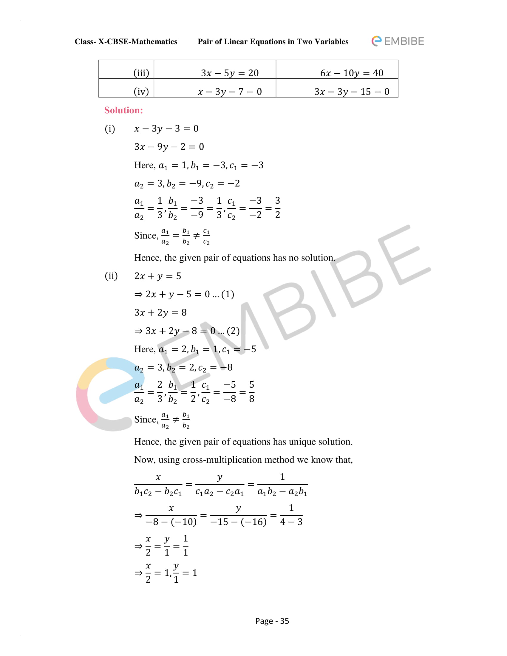 CBSE NCERT Solutions For Class 10 Maths Chapter 3 - Pair of Linear Equations In Two Variables - 35