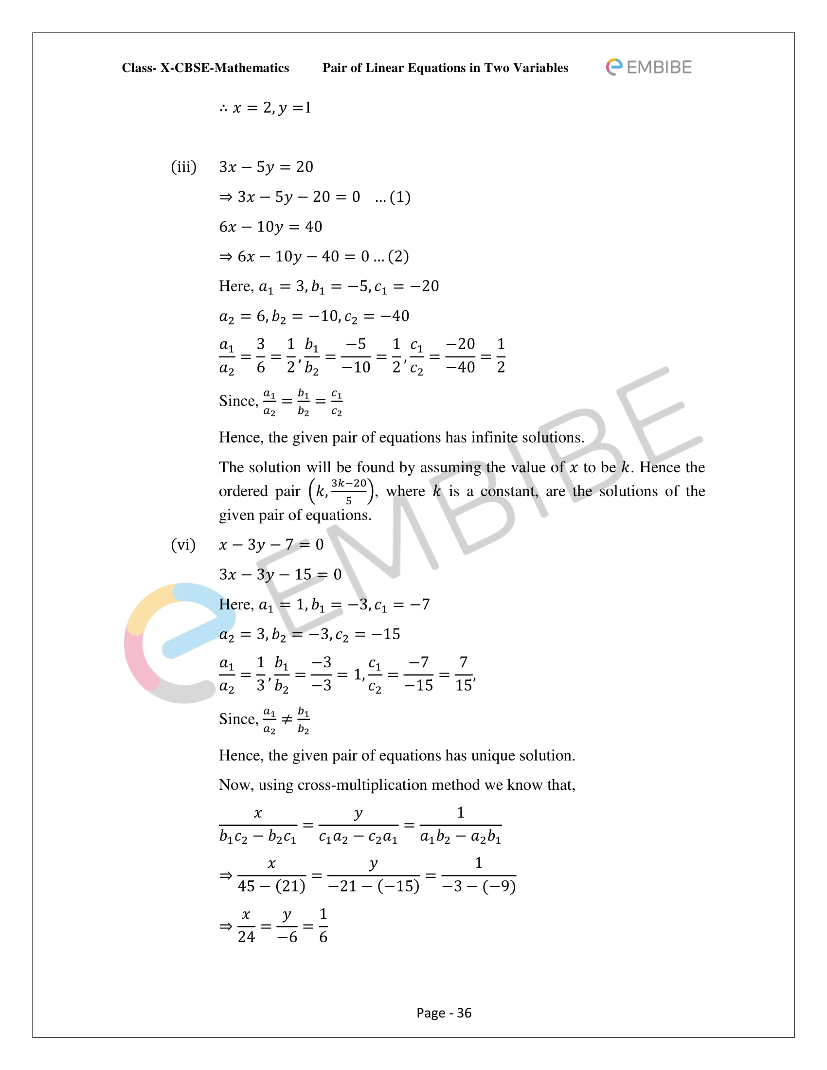 CBSE NCERT Solutions For Class 10 Maths Chapter 3 - Pair of Linear Equations In Two Variables - 36