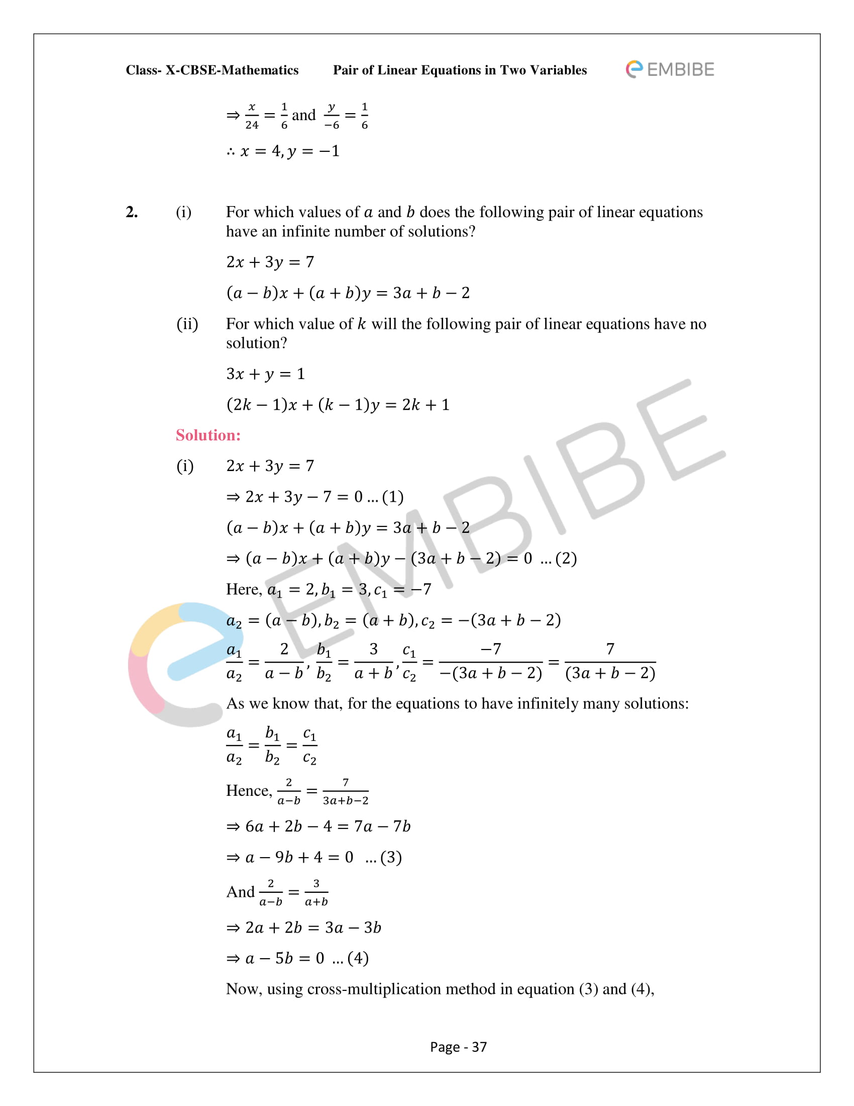 CBSE NCERT Solutions For Class 10 Maths Chapter 3 - Pair of Linear Equations In Two Variables - 37