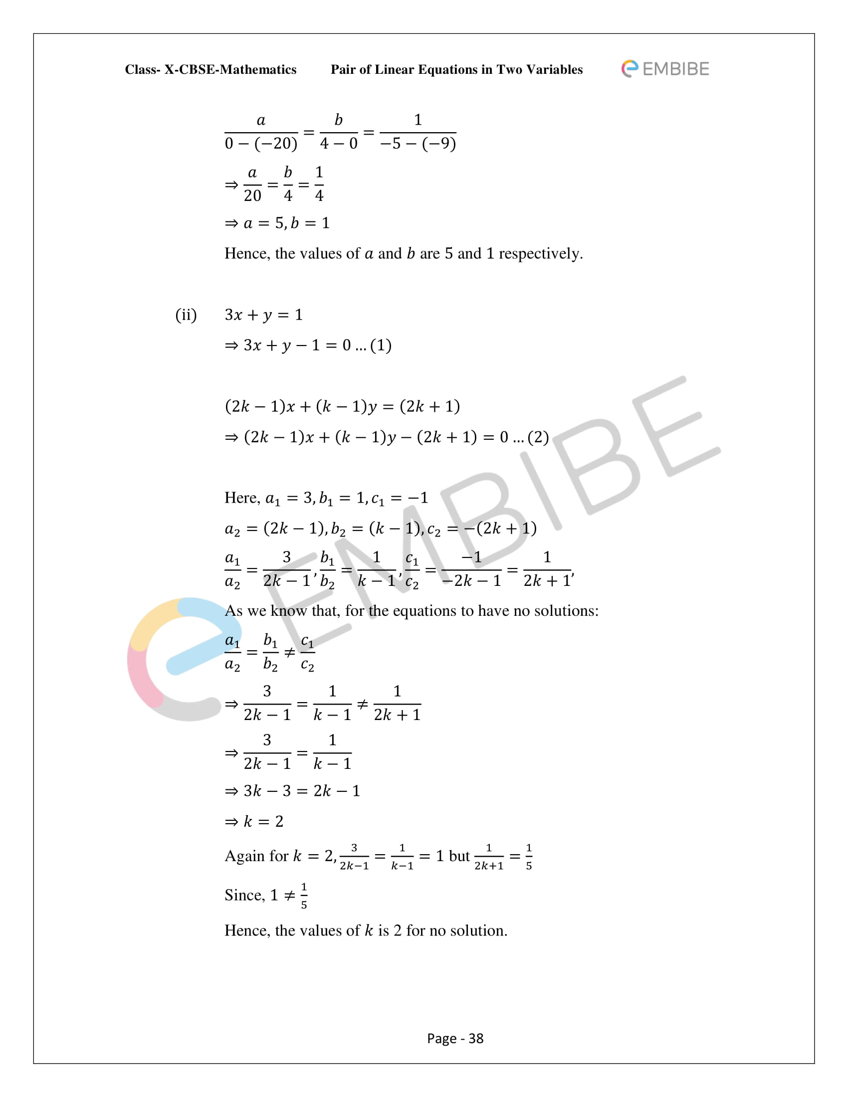 CBSE NCERT Solutions For Class 10 Maths Chapter 3 - Pair of Linear Equations In Two Variables - 38