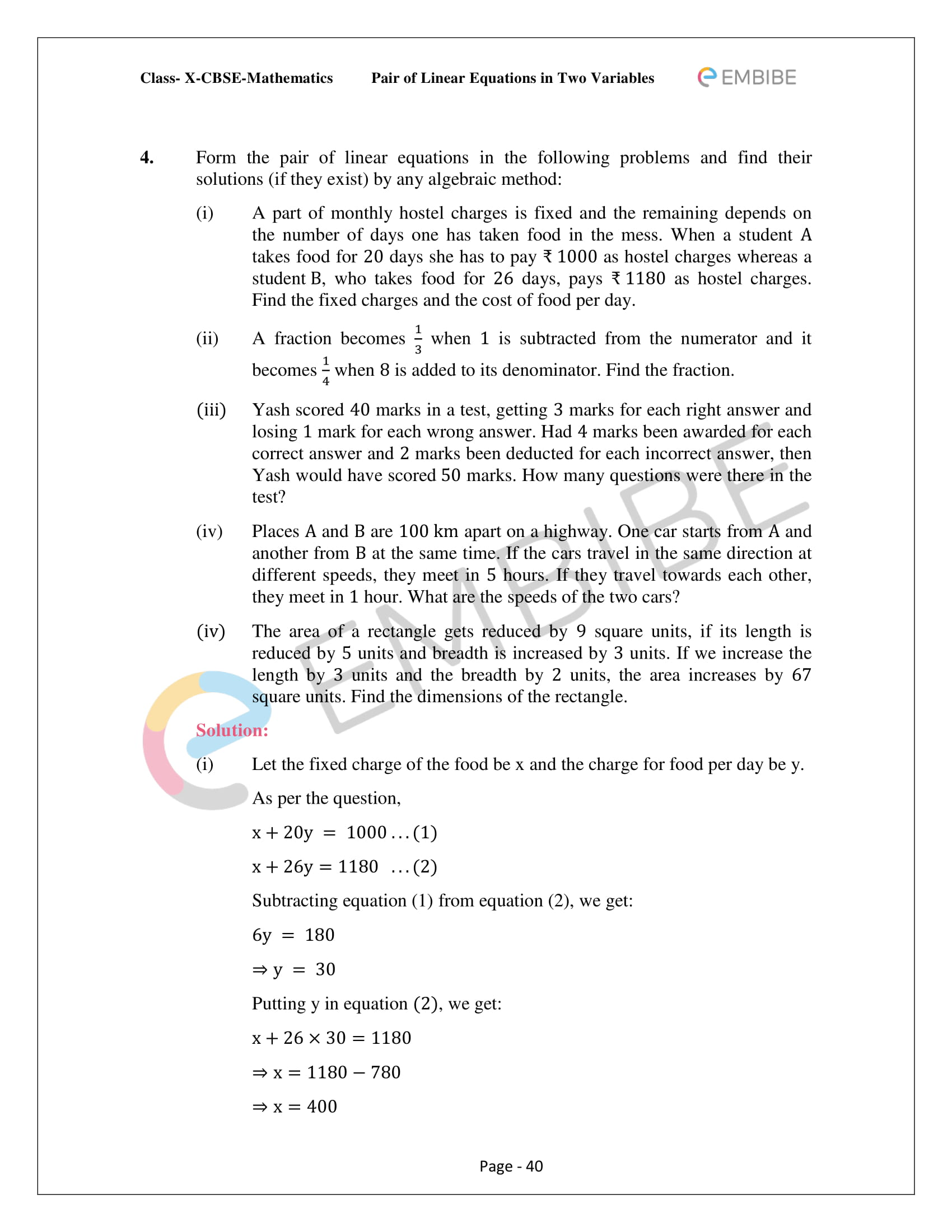 CBSE NCERT Solutions For Class 10 Maths Chapter 3 - Pair of Linear Equations In Two Variables - 40