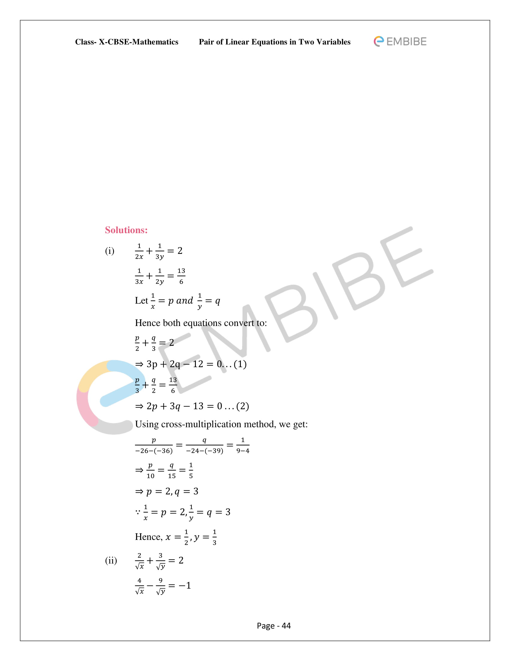 CBSE NCERT Solutions For Class 10 Maths Chapter 3 - Pair of Linear Equations In Two Variables - 44