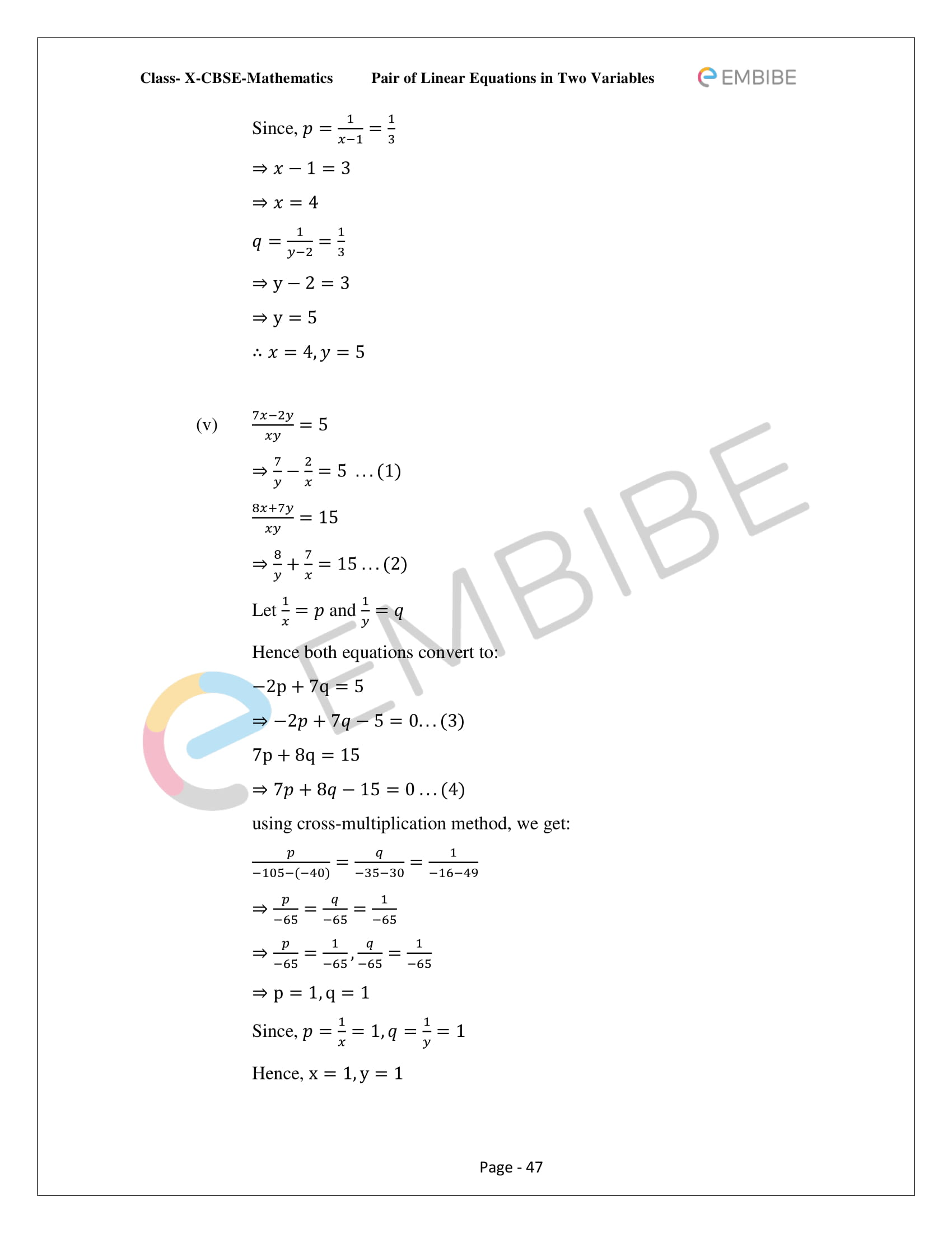 CBSE NCERT Solutions For Class 10 Maths Chapter 3 - Pair of Linear Equations In Two Variables - 47