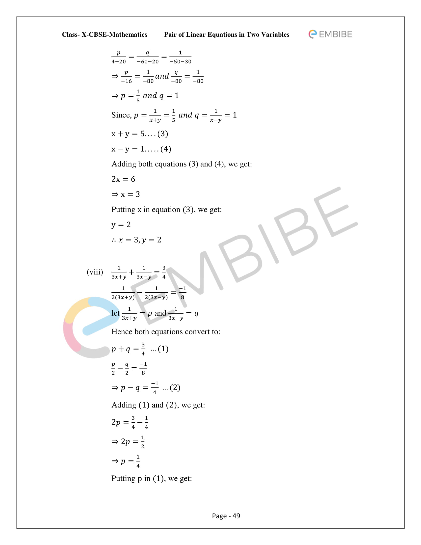 CBSE NCERT Solutions For Class 10 Maths Chapter 3 - Pair of Linear Equations In Two Variables - 49