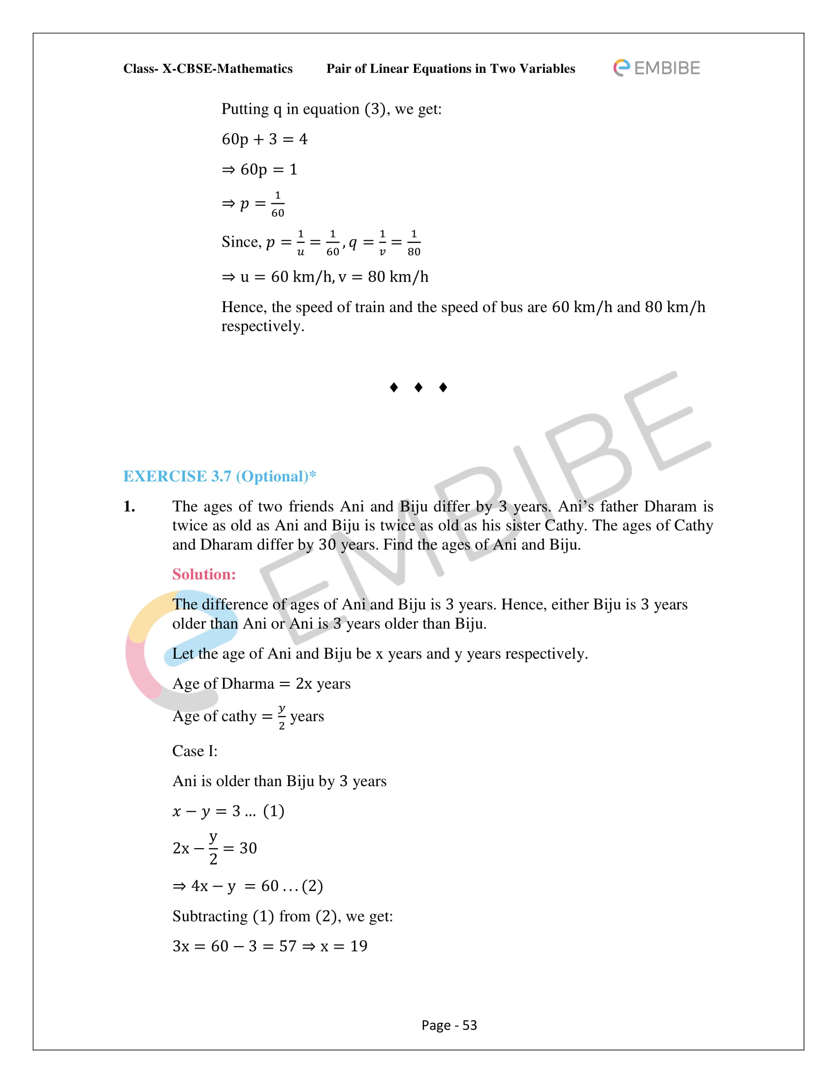 CBSE NCERT Solutions For Class 10 Maths Chapter 3 - Pair of Linear Equations In Two Variables - 53