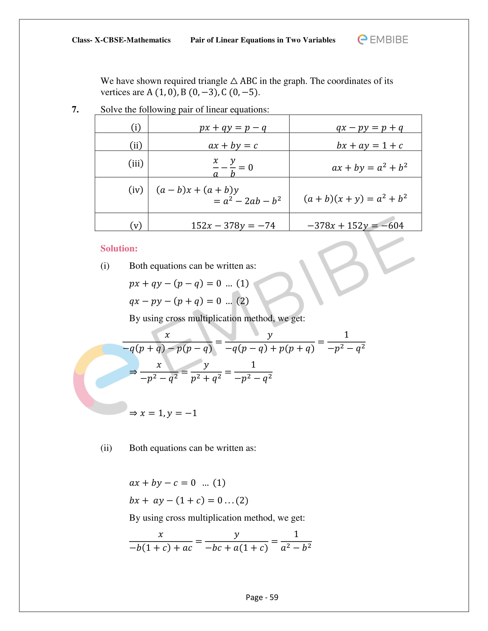 CBSE NCERT Solutions For Class 10 Maths Chapter 3 - Pair of Linear Equations In Two Variables - 59