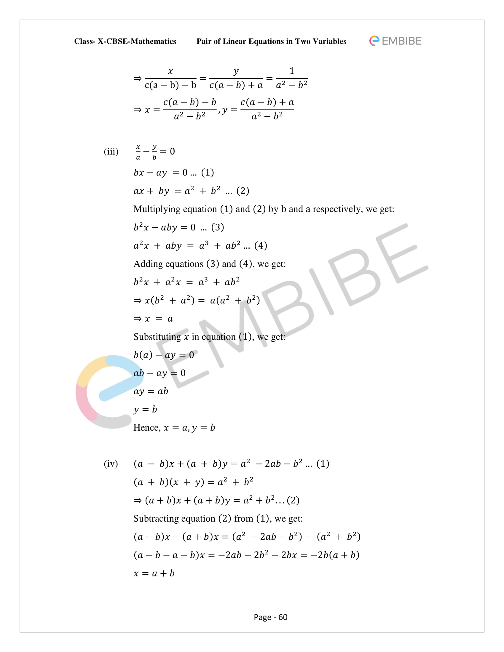 CBSE NCERT Solutions For Class 10 Maths Chapter 3 - Pair of Linear Equations In Two Variables - 60