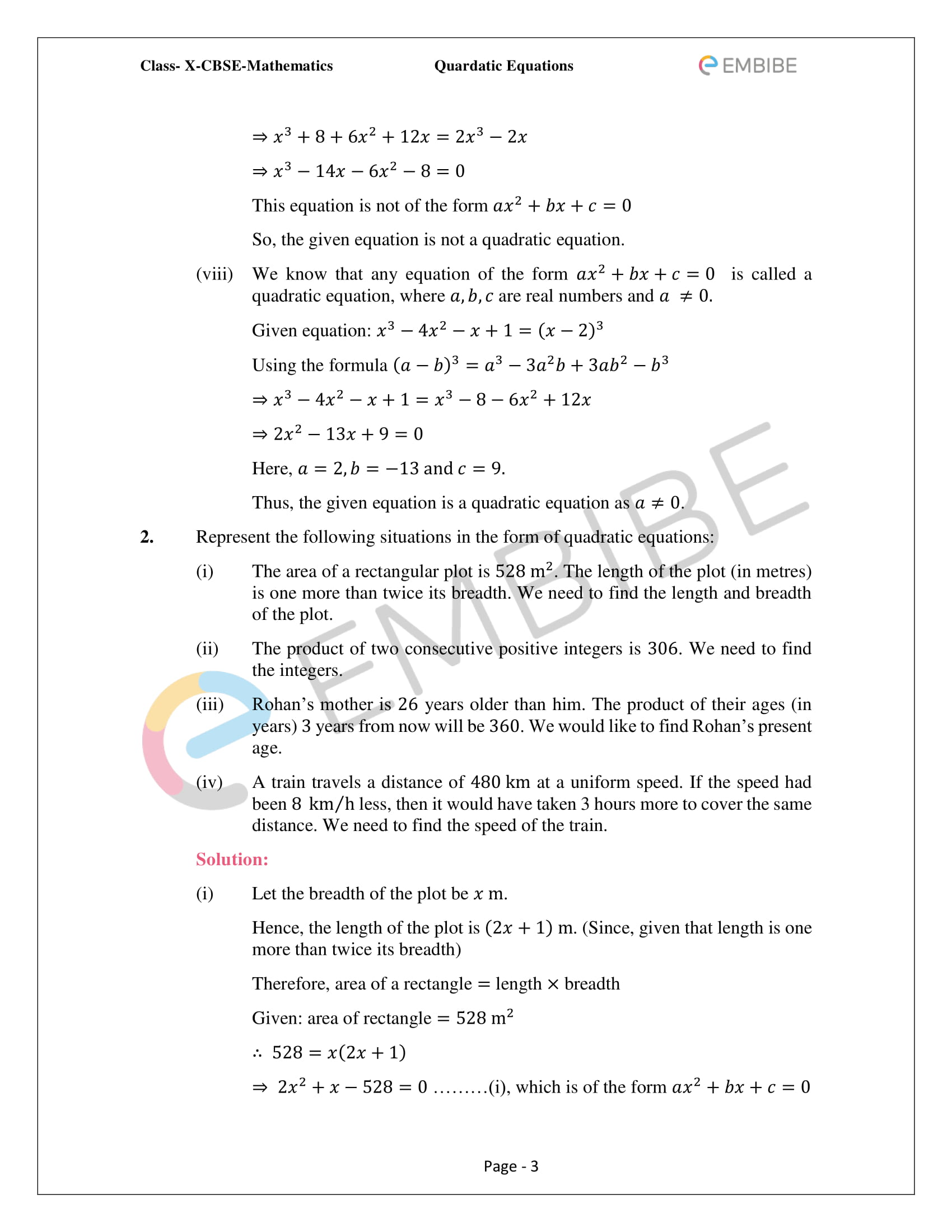 CBSE NCERT Solutions For Class 10 Maths Chapter 4 – Quadratic Equations - 3