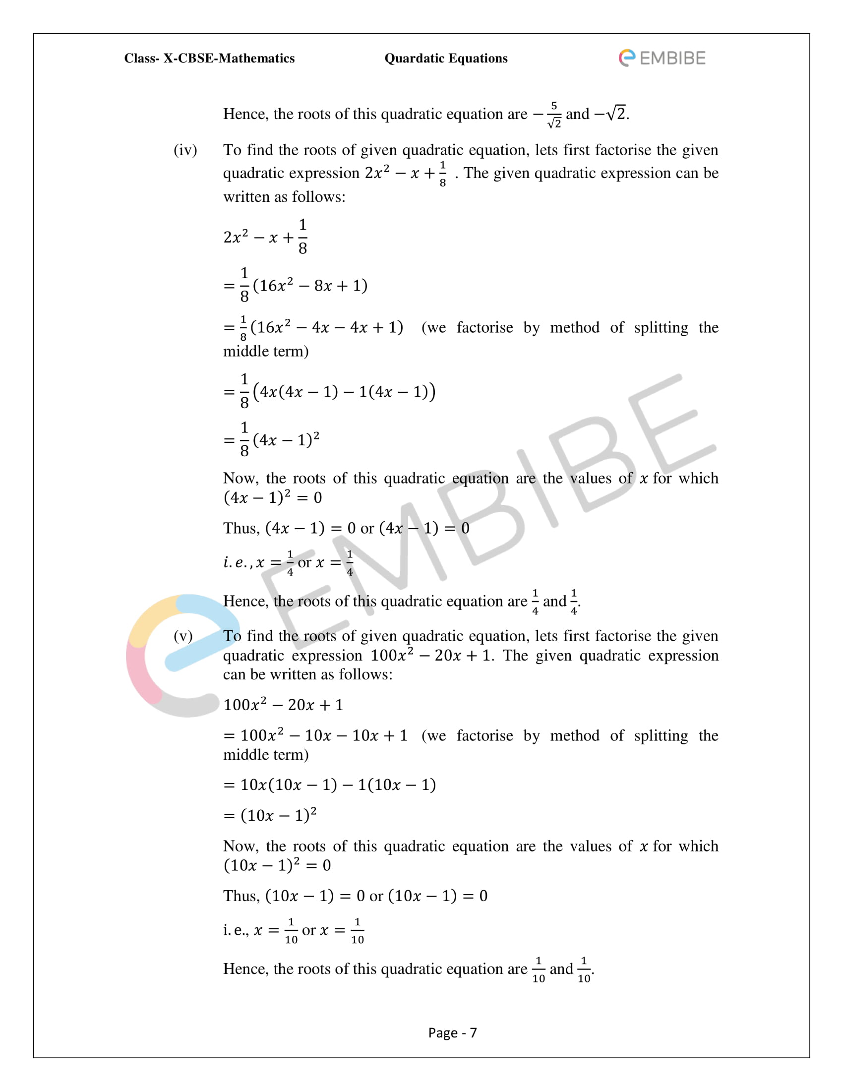 CBSE NCERT Solutions For Class 10 Maths Chapter 4 – Quadratic Equations - 7