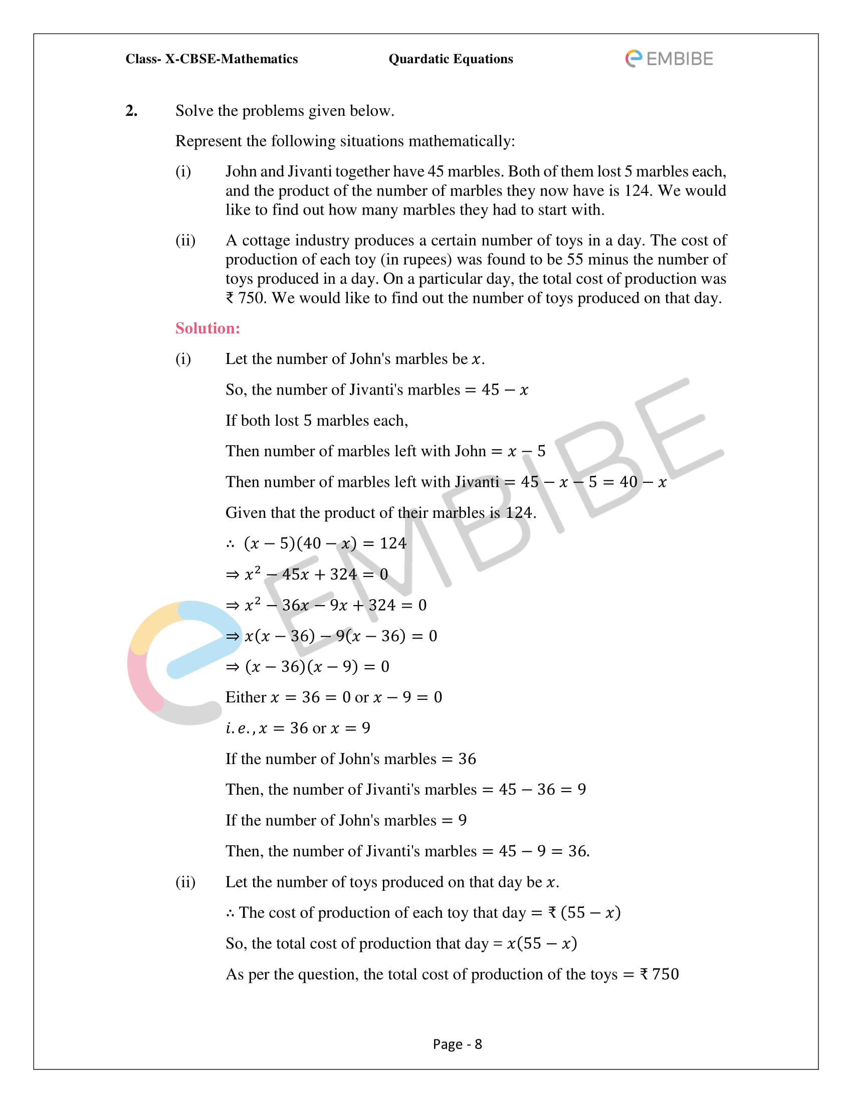 CBSE NCERT Solutions For Class 10 Maths Chapter 4 – Quadratic Equations - 8