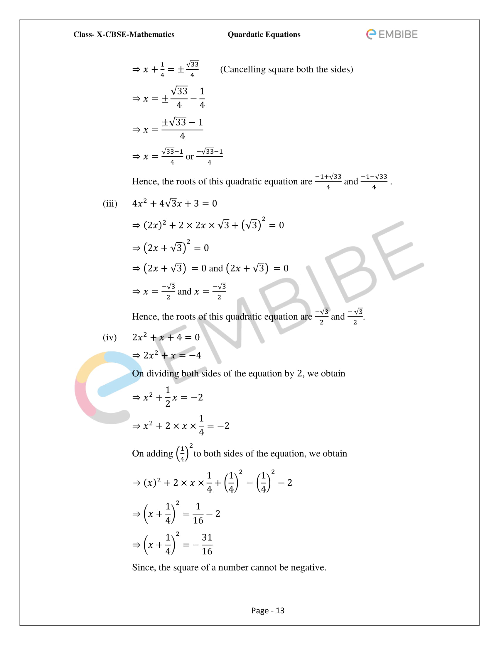CBSE NCERT Solutions For Class 10 Maths Chapter 4 – Quadratic Equations - 13