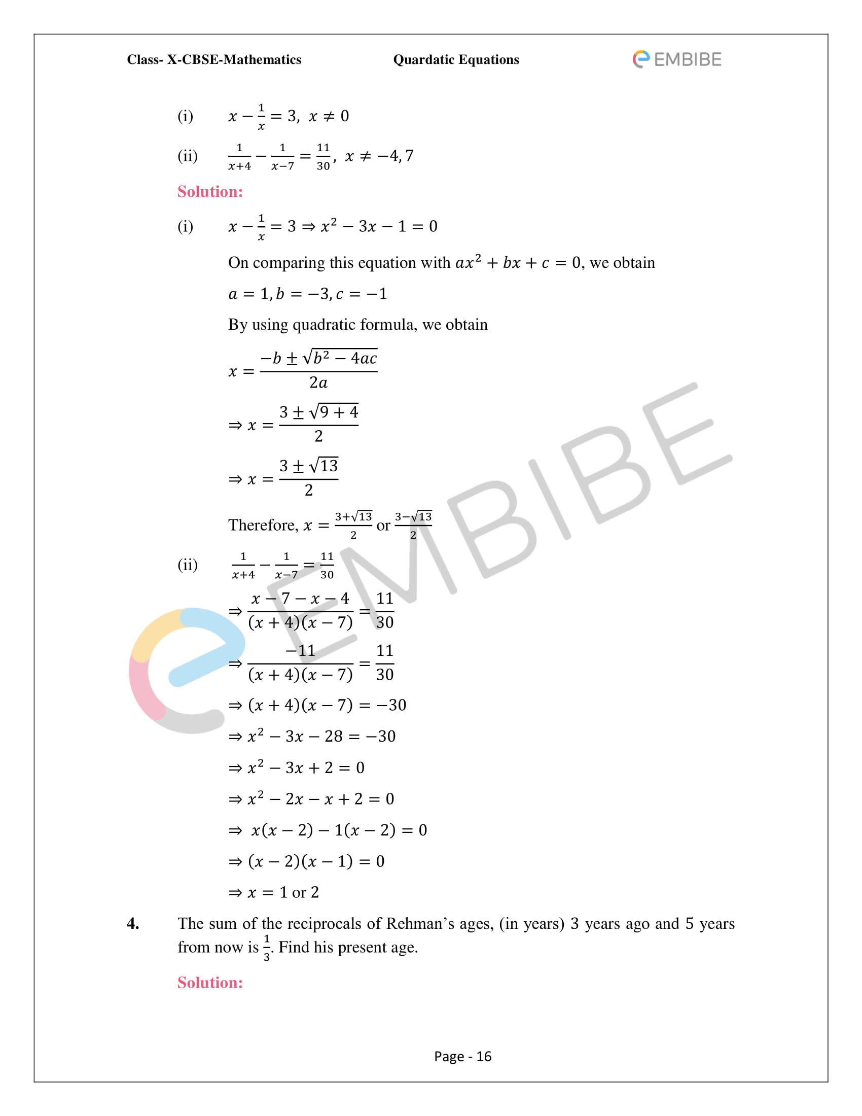 CBSE NCERT Solutions For Class 10 Maths Chapter 4 – Quadratic Equations - 16