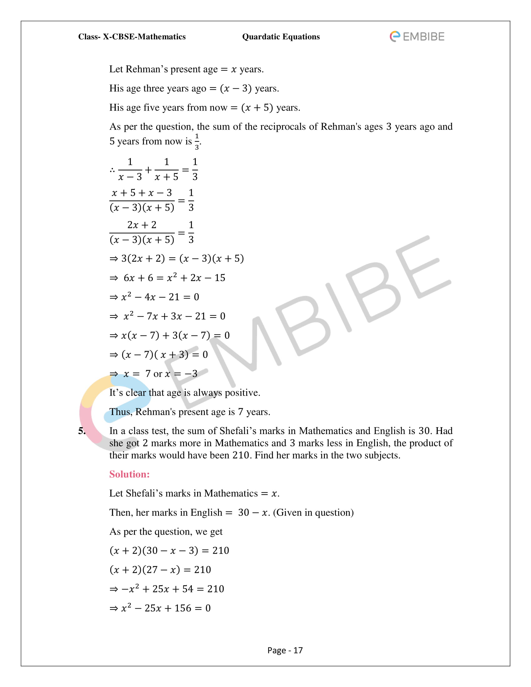 CBSE NCERT Solutions For Class 10 Maths Chapter 4 – Quadratic Equations - 17