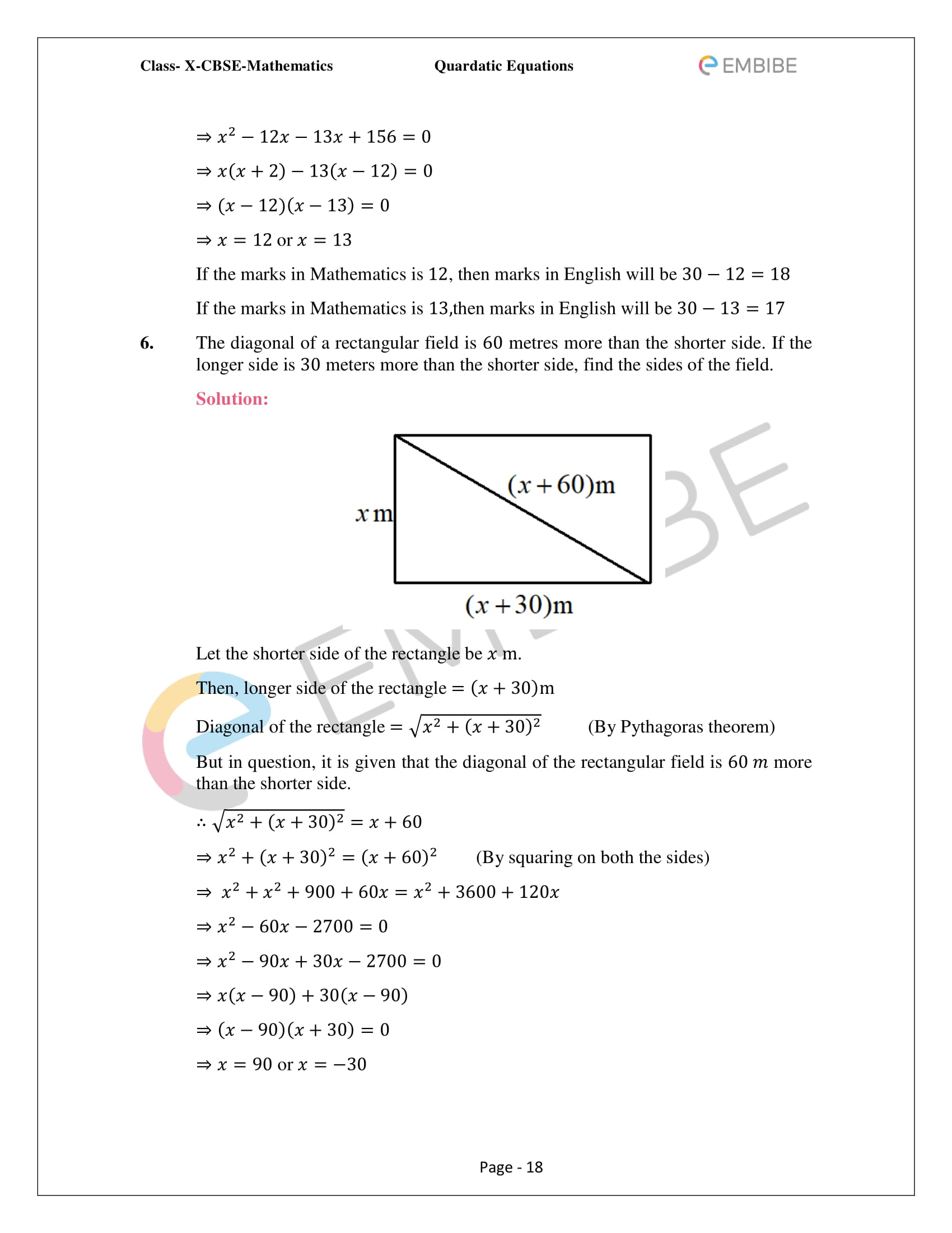 CBSE NCERT Solutions For Class 10 Maths Chapter 4 – Quadratic Equations - 18