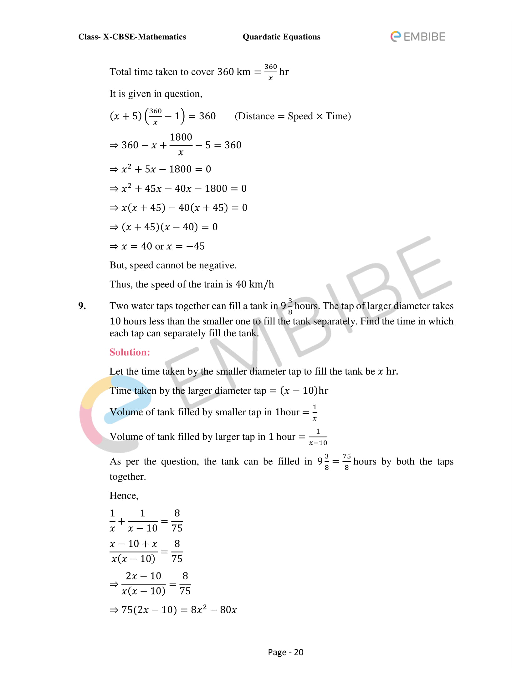 CBSE NCERT Solutions For Class 10 Maths Chapter 4 – Quadratic Equations - 20