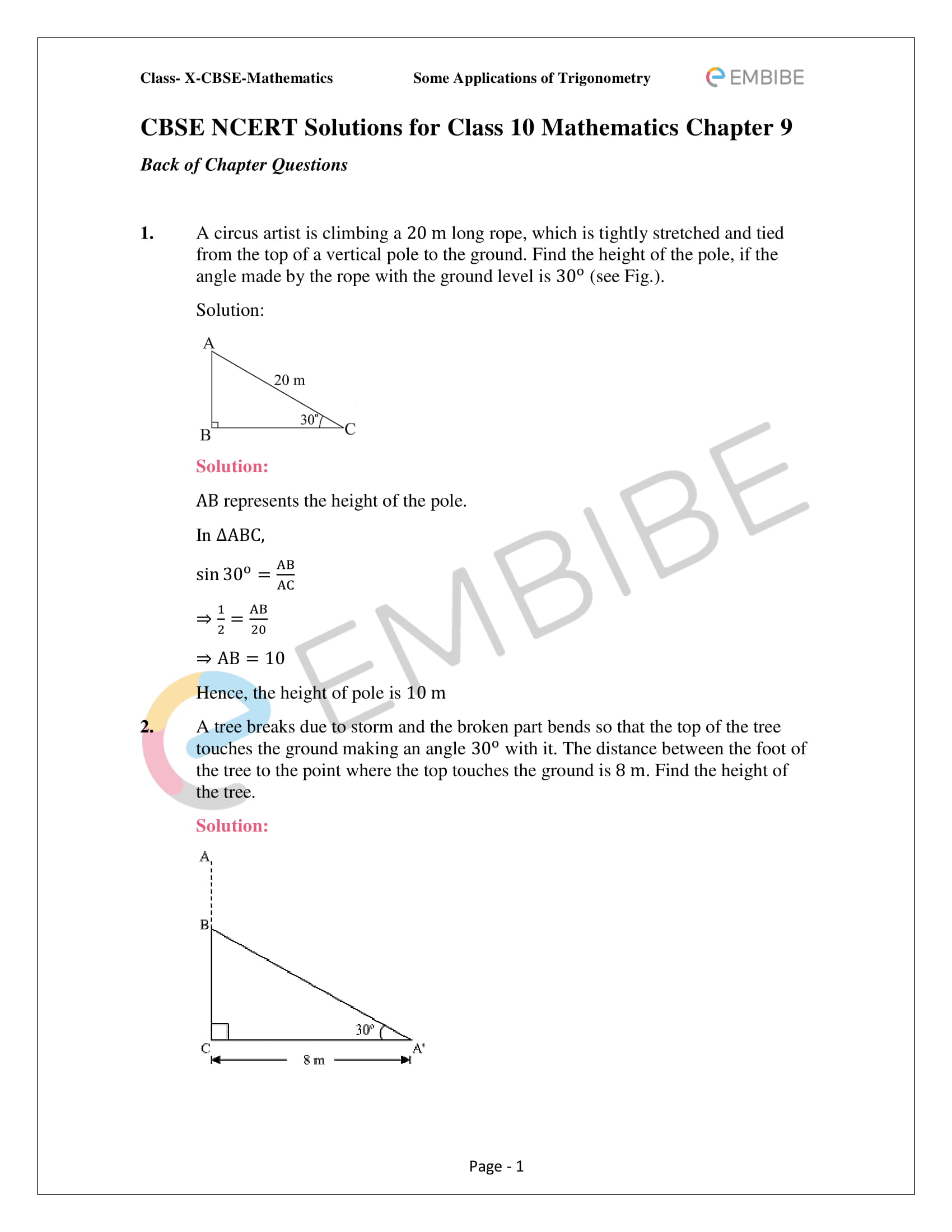 NCERT Solutions For Class 10 Maths Chapter 9: Introduction To