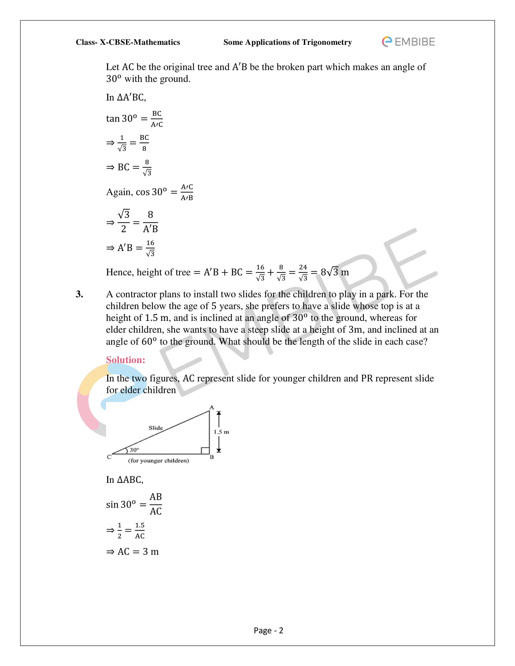 CBSE NCERT Solutions For Class 10 Maths Chapter 9 –Introduction To Trigonometry - 2