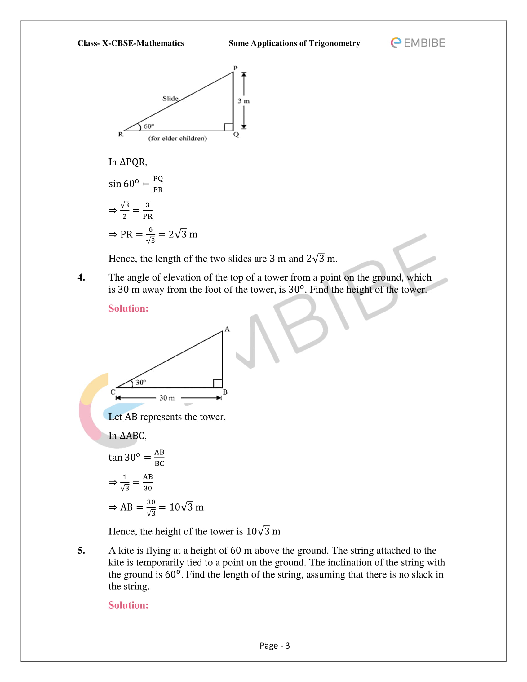 CBSE NCERT Solutions For Class 10 Maths Chapter 9 –Introduction To Trigonometry - 3