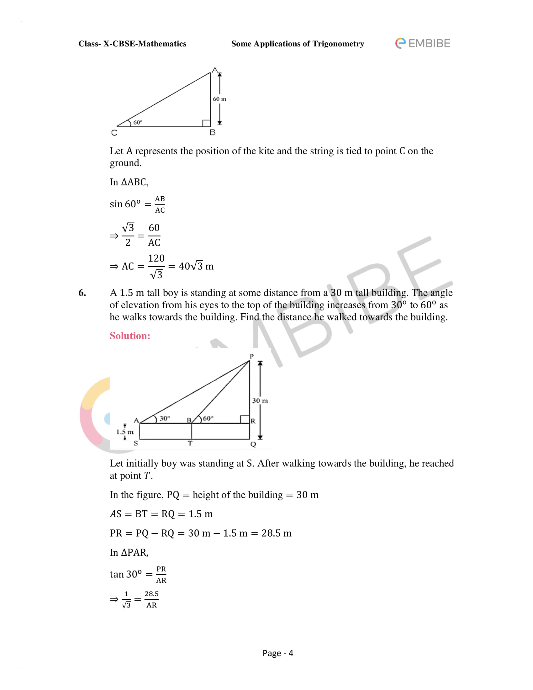 CBSE NCERT Solutions For Class 10 Maths Chapter 9 –Introduction To Trigonometry - 4