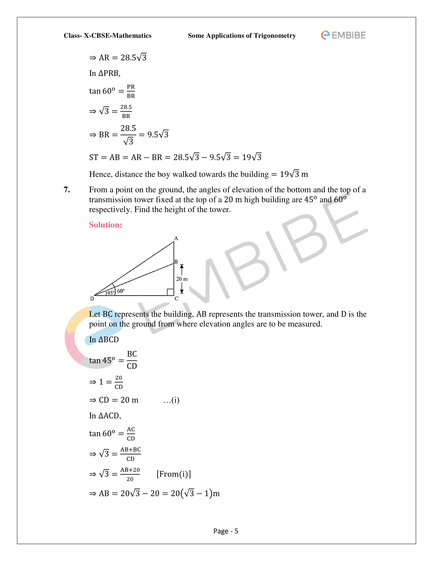 CBSE NCERT Solutions For Class 10 Maths Chapter 9 –Introduction To Trigonometry - 5