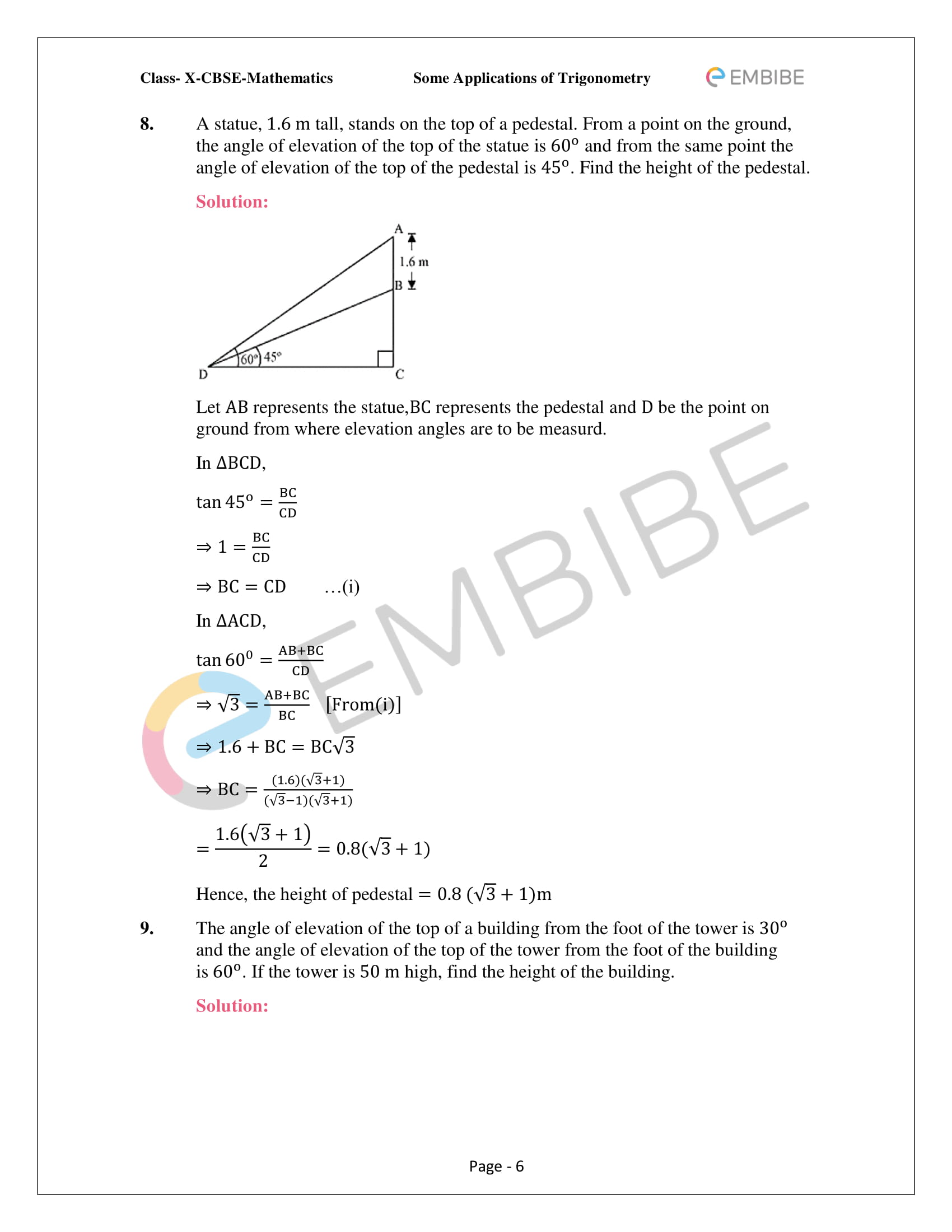 CBSE NCERT Solutions For Class 10 Maths Chapter 9 –Introduction To Trigonometry - 6