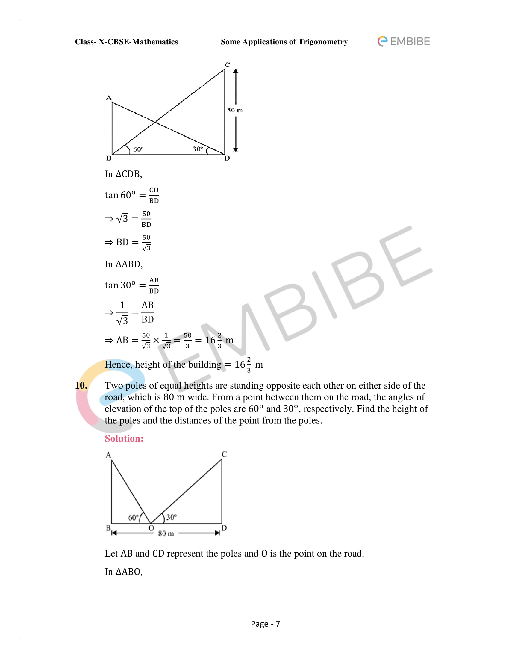 CBSE NCERT Solutions For Class 10 Maths Chapter 9 –Introduction To Trigonometry - 7