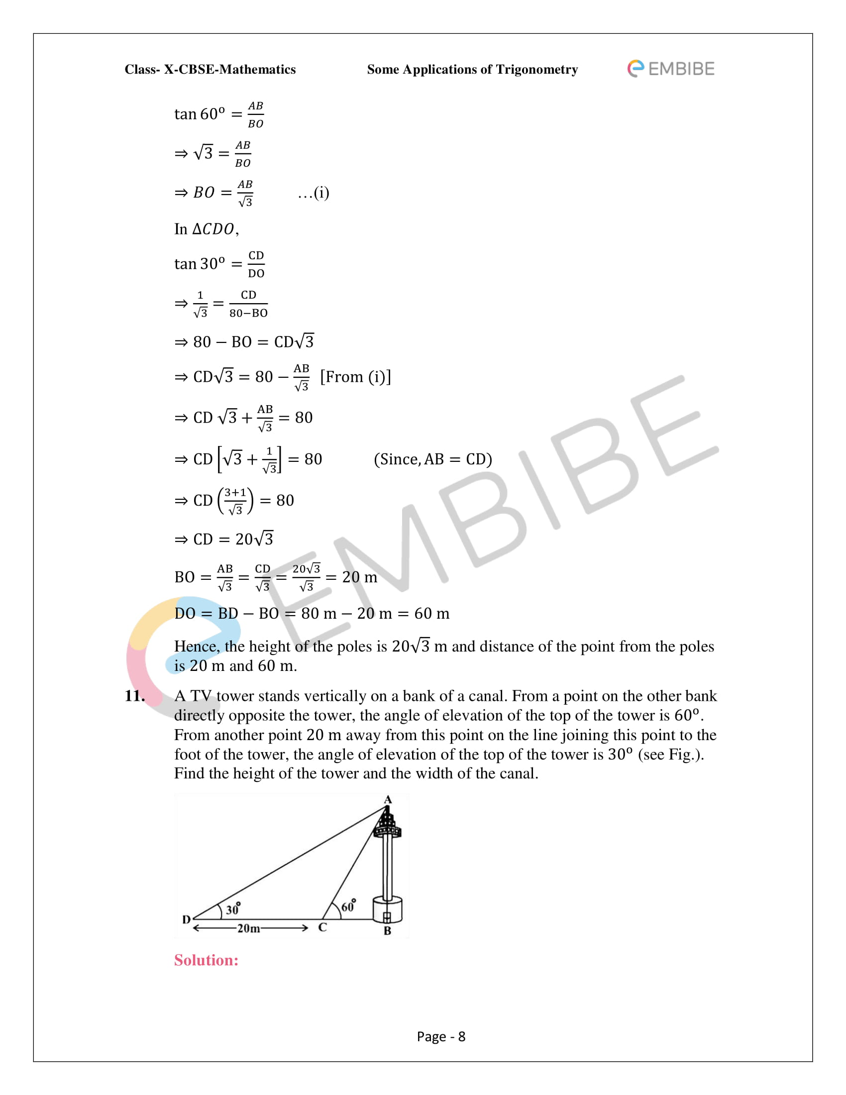 CBSE NCERT Solutions For Class 10 Maths Chapter 9 –Introduction To Trigonometry - 8