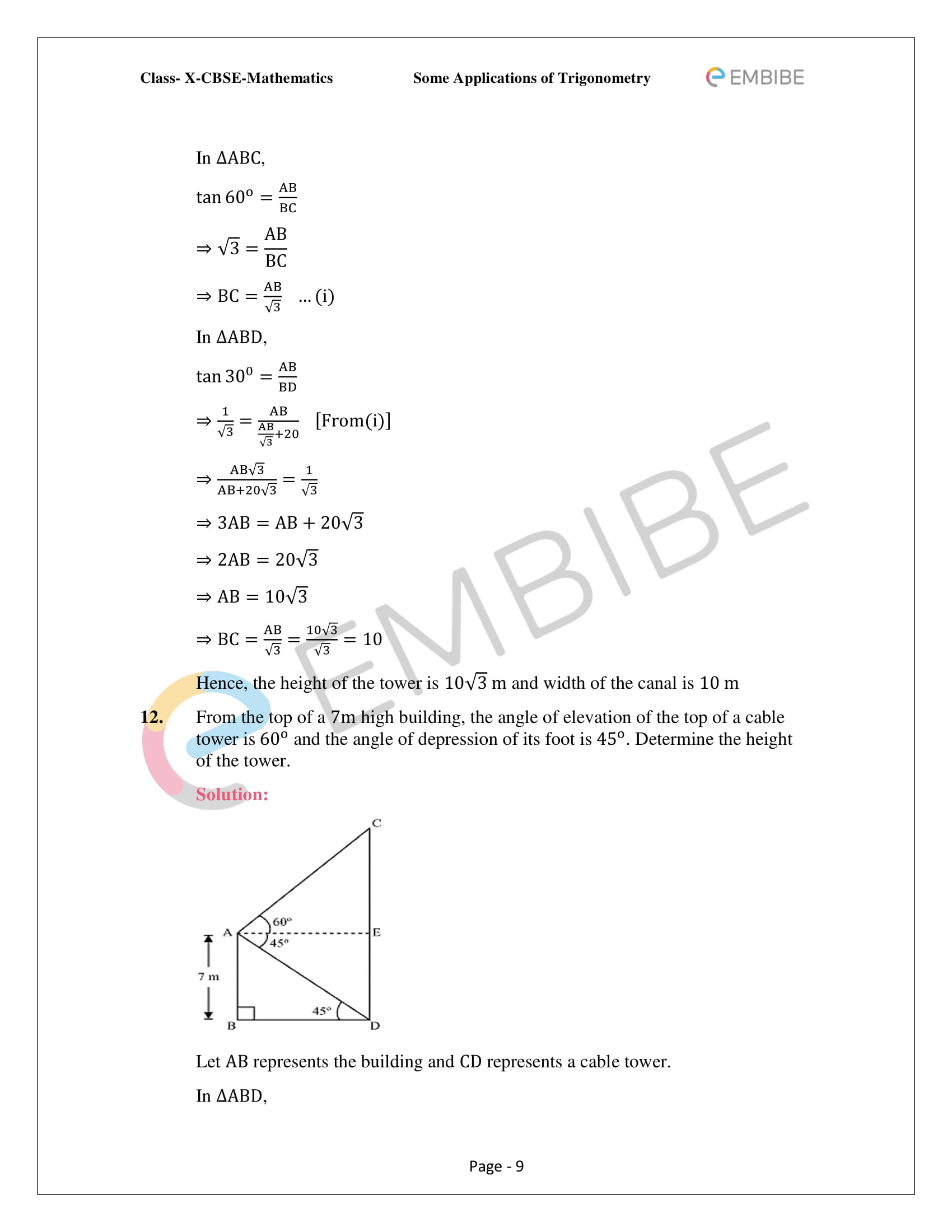 CBSE NCERT Solutions For Class 10 Maths Chapter 9 –Introduction To Trigonometry - 9