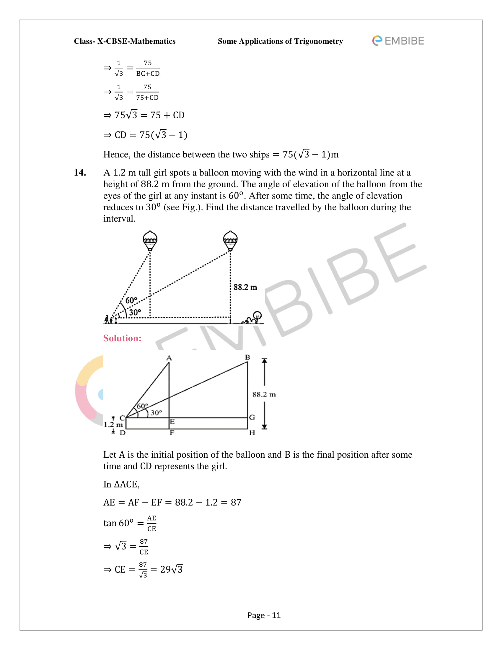 CBSE NCERT Solutions For Class 10 Maths Chapter 9 –Introduction To Trigonometry - 11