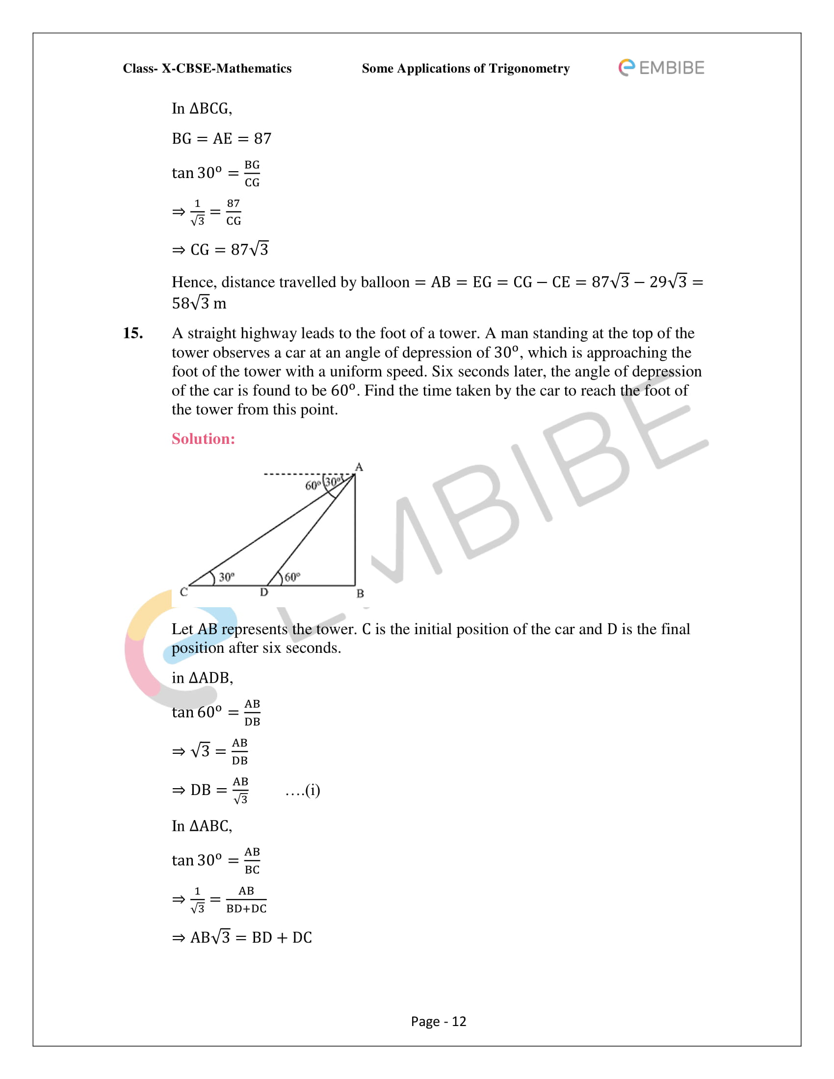 CBSE NCERT Solutions For Class 10 Maths Chapter 9 –Introduction To Trigonometry - 12