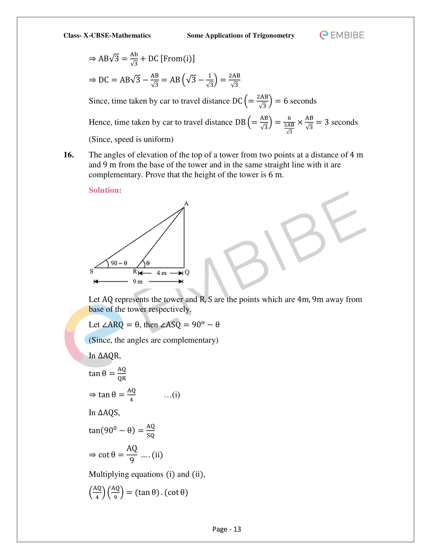 CBSE NCERT Solutions For Class 10 Maths Chapter 9 –Introduction To Trigonometry - 13