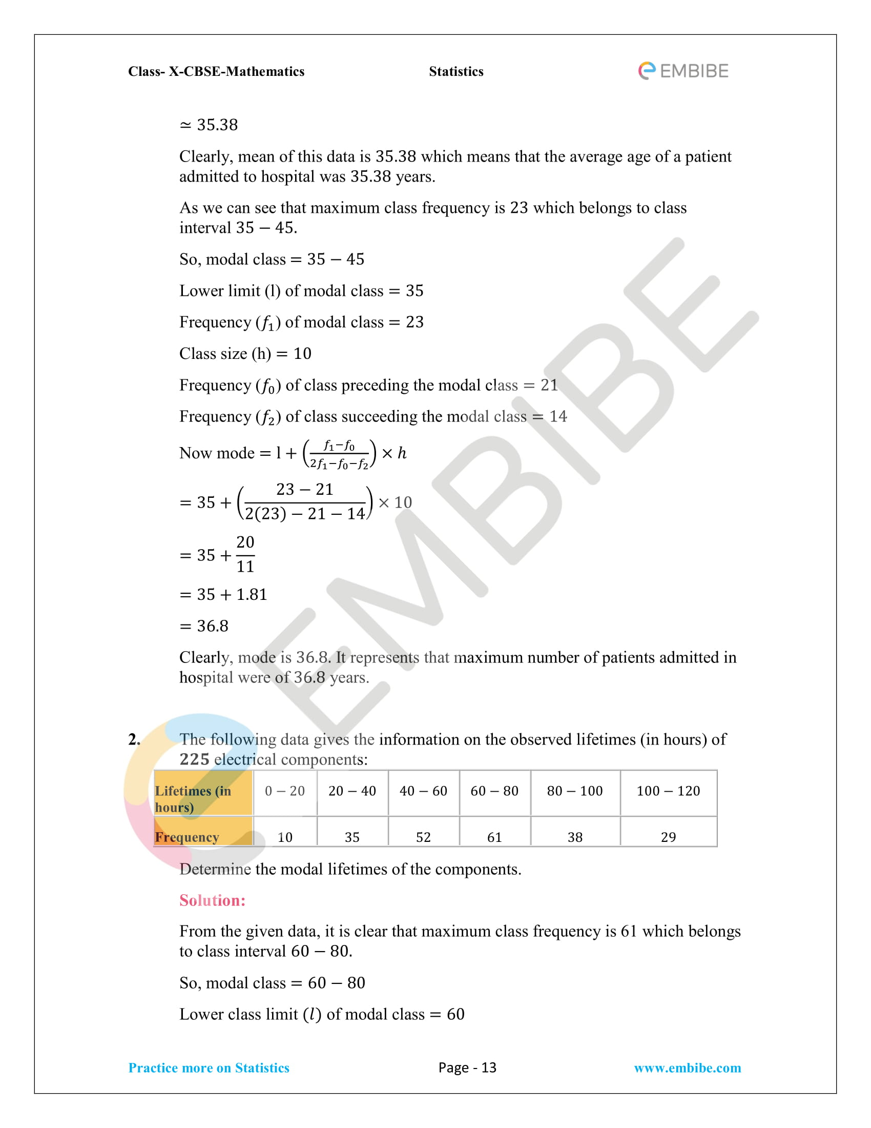 CBSE NCERT Solutions For Class 10 Maths Chapter 14 – Statistics-13