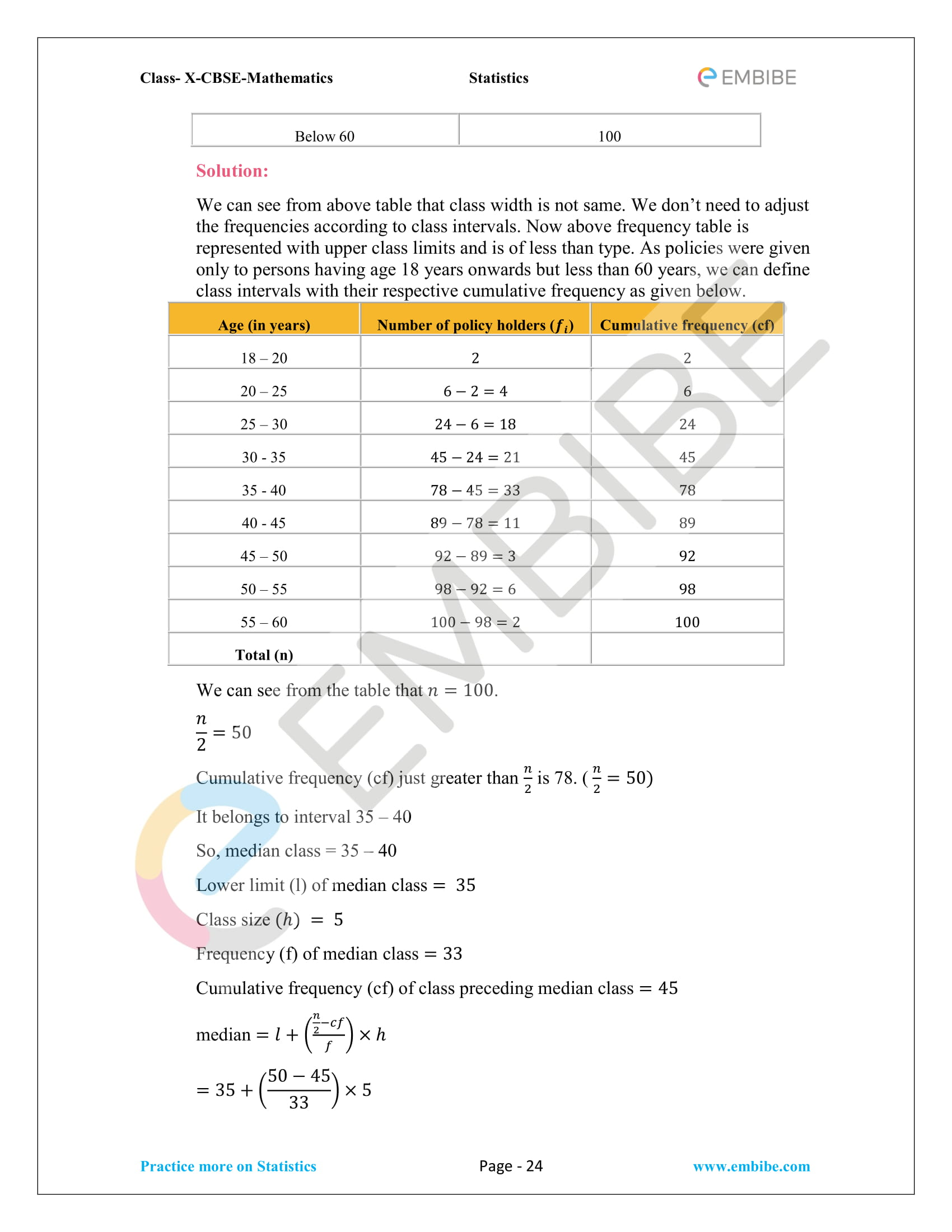 CBSE NCERT Solutions For Class 10 Maths Chapter 14 – Statistics-24