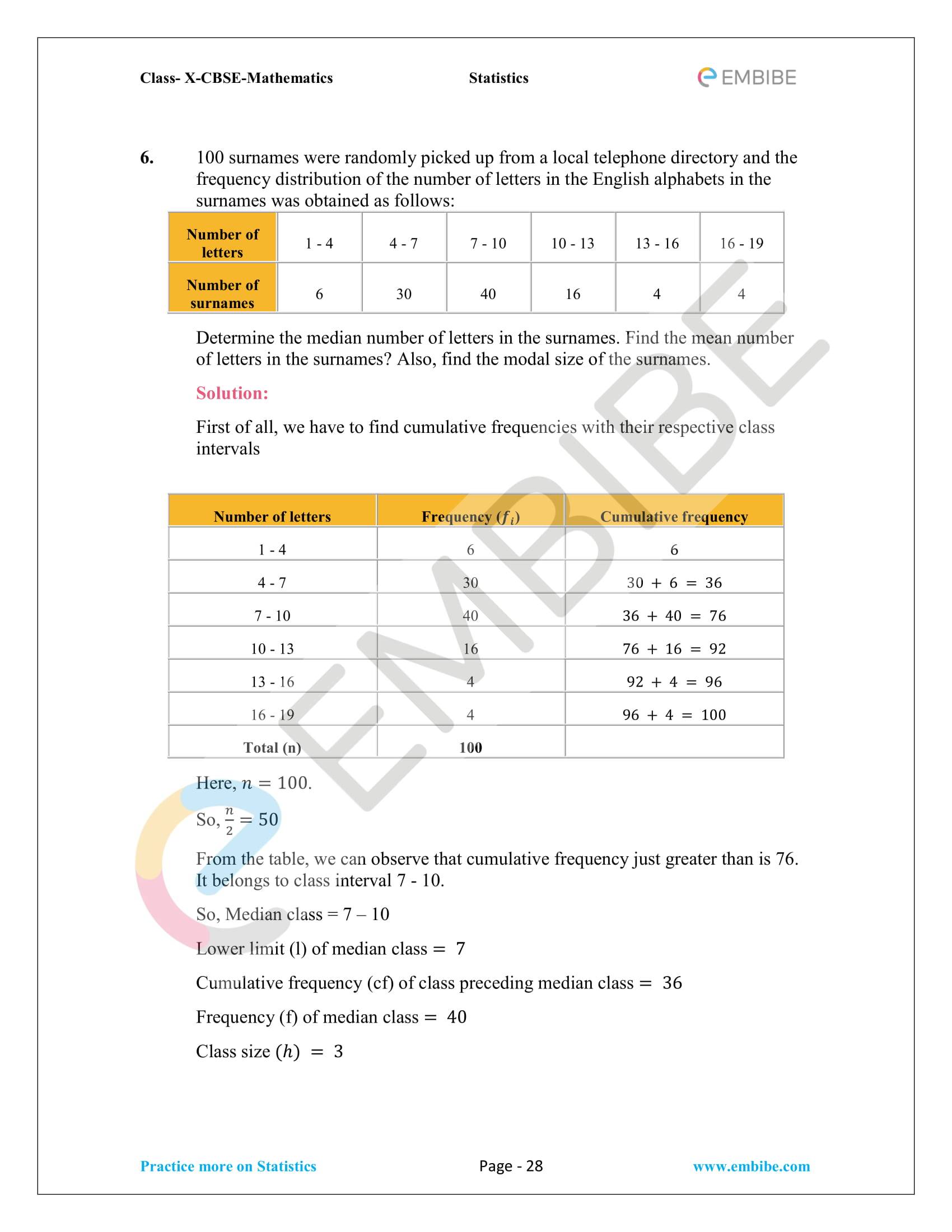 CBSE NCERT Solutions For Class 10 Maths Chapter 14 – Statistics-28