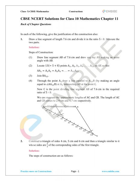 CBSE NCERT Solutions For Class 10 Maths Chapter 11