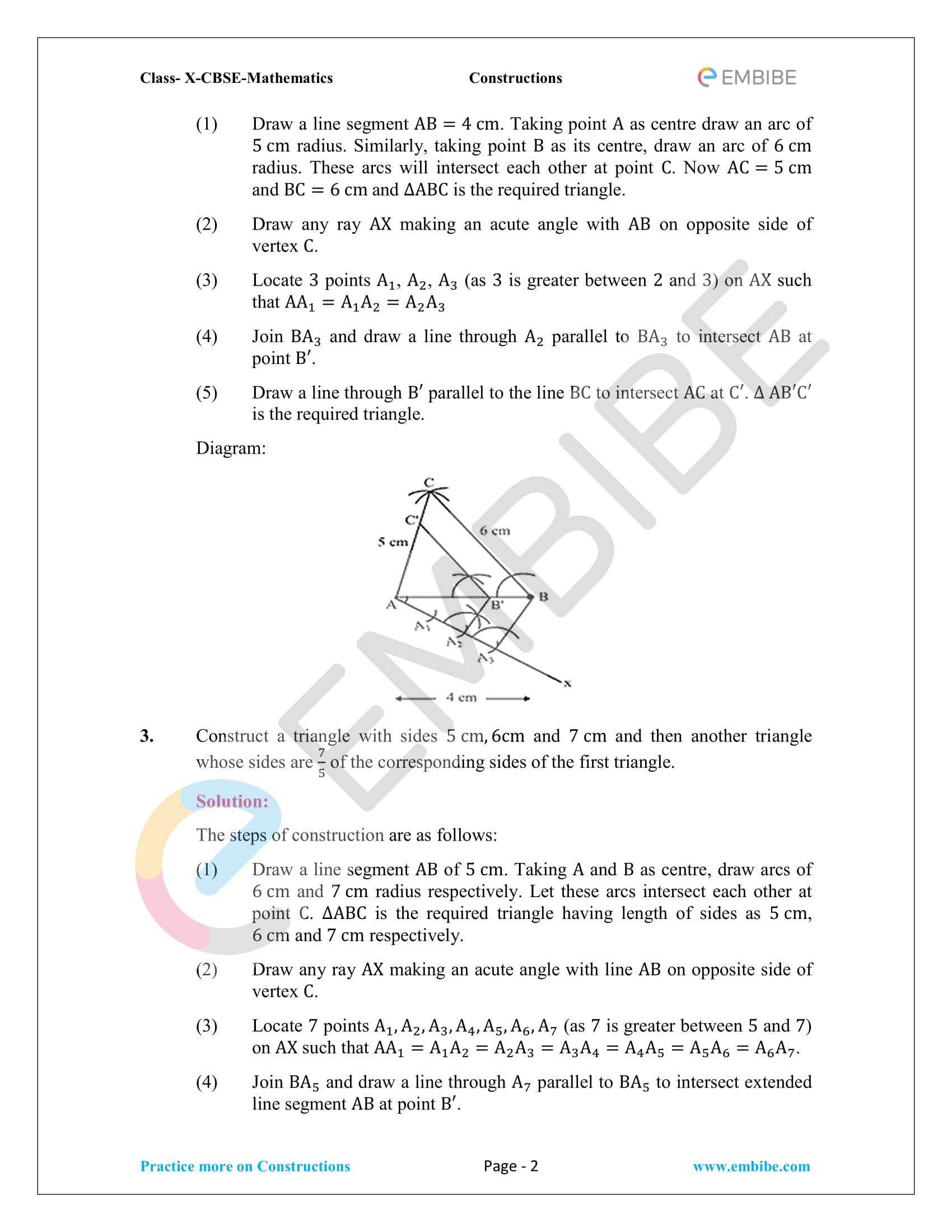 NCERT Solutions For Class 10 Maths Chapter 11: Constructions