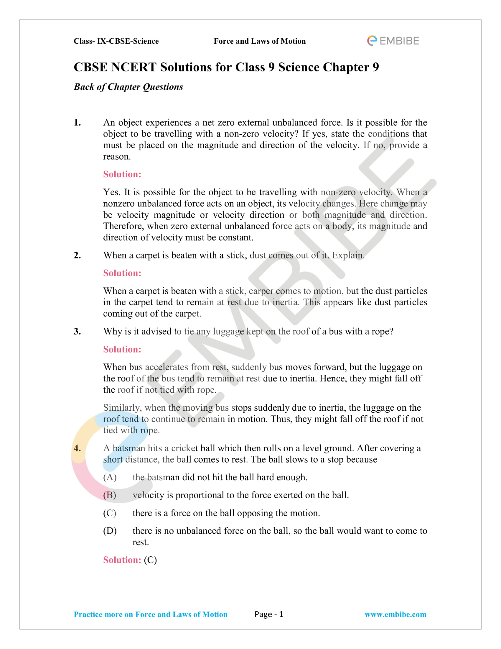 CBSE NCERT Solutions For Class 9 Science Chapter 9: Force