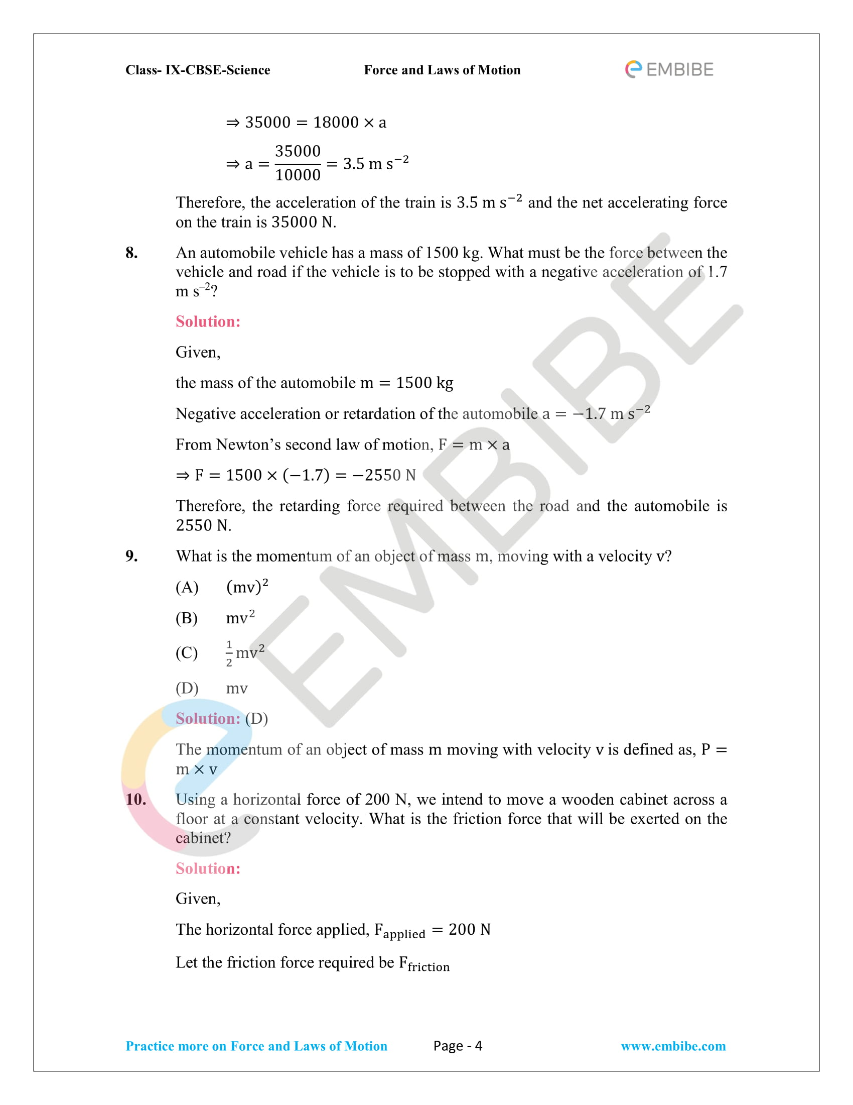CBSE NCERT Solutions For Class 9 Science Chapter 9 – Force And Laws Of Motion - 4