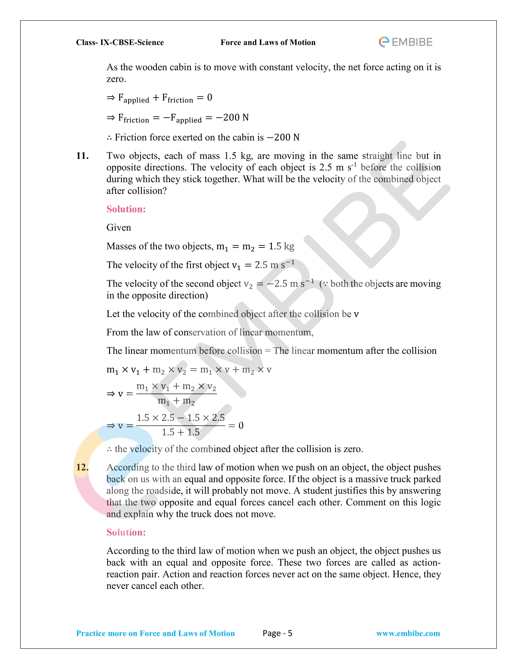 CBSE NCERT Solutions For Class 9 Science Chapter 9 – Force And Laws Of Motion - 5