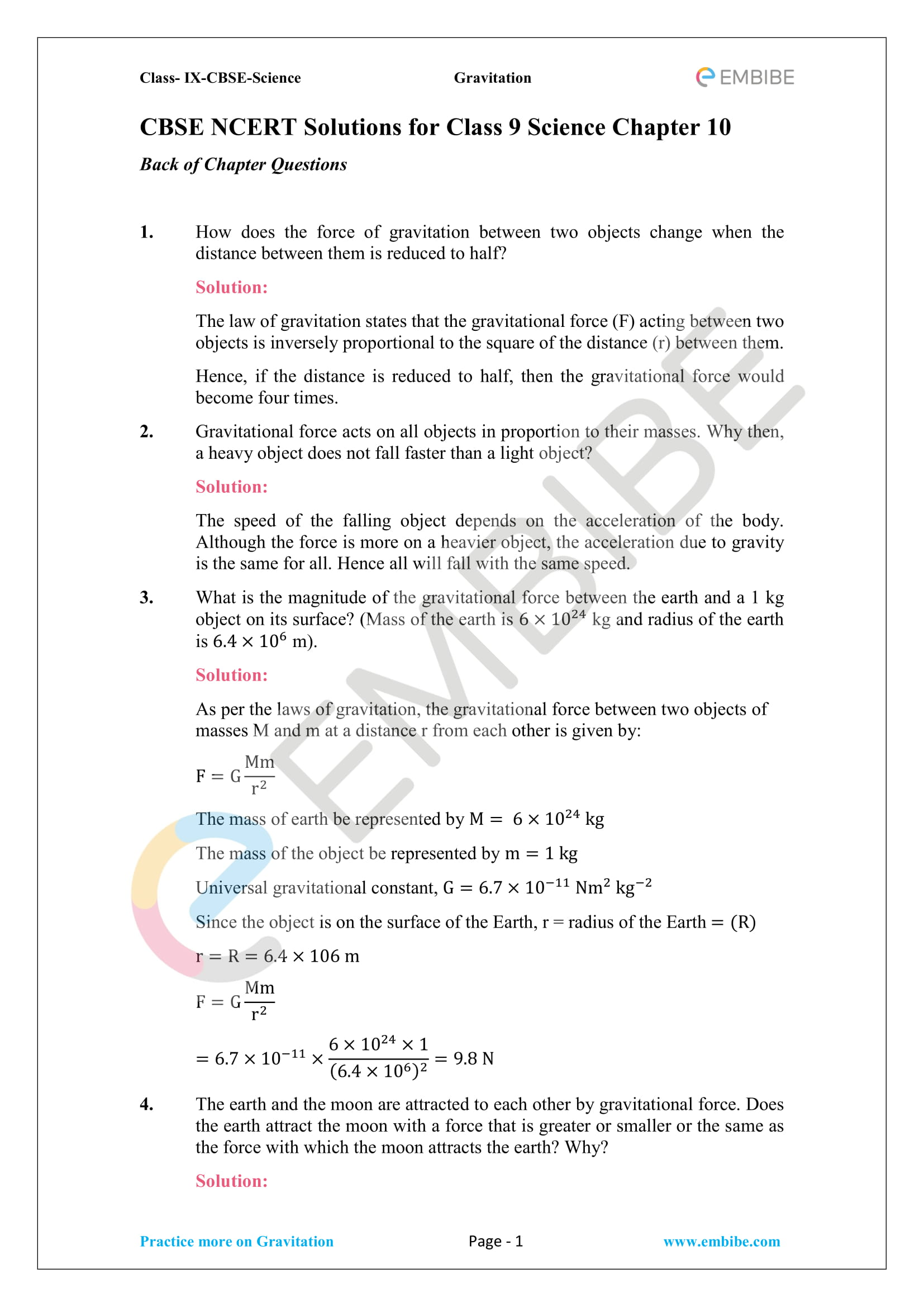 CBSE NCERT Solutions For Class 9 Science Chapter 10 – Gravitation - 1