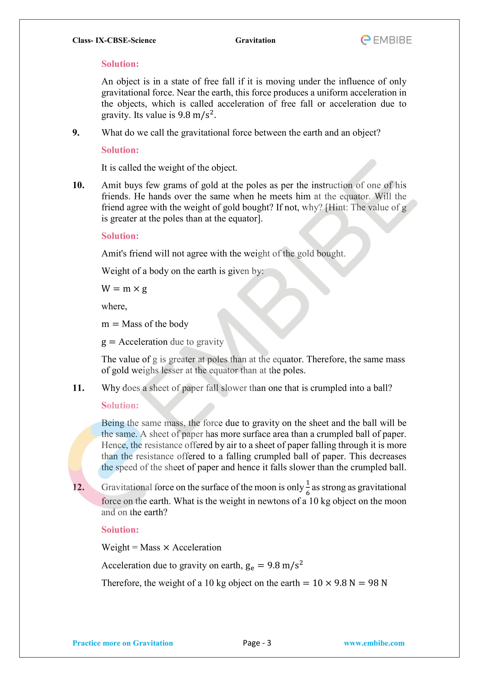 CBSE NCERT Solutions For Class 9 Science Chapter 10 – Gravitation - 3