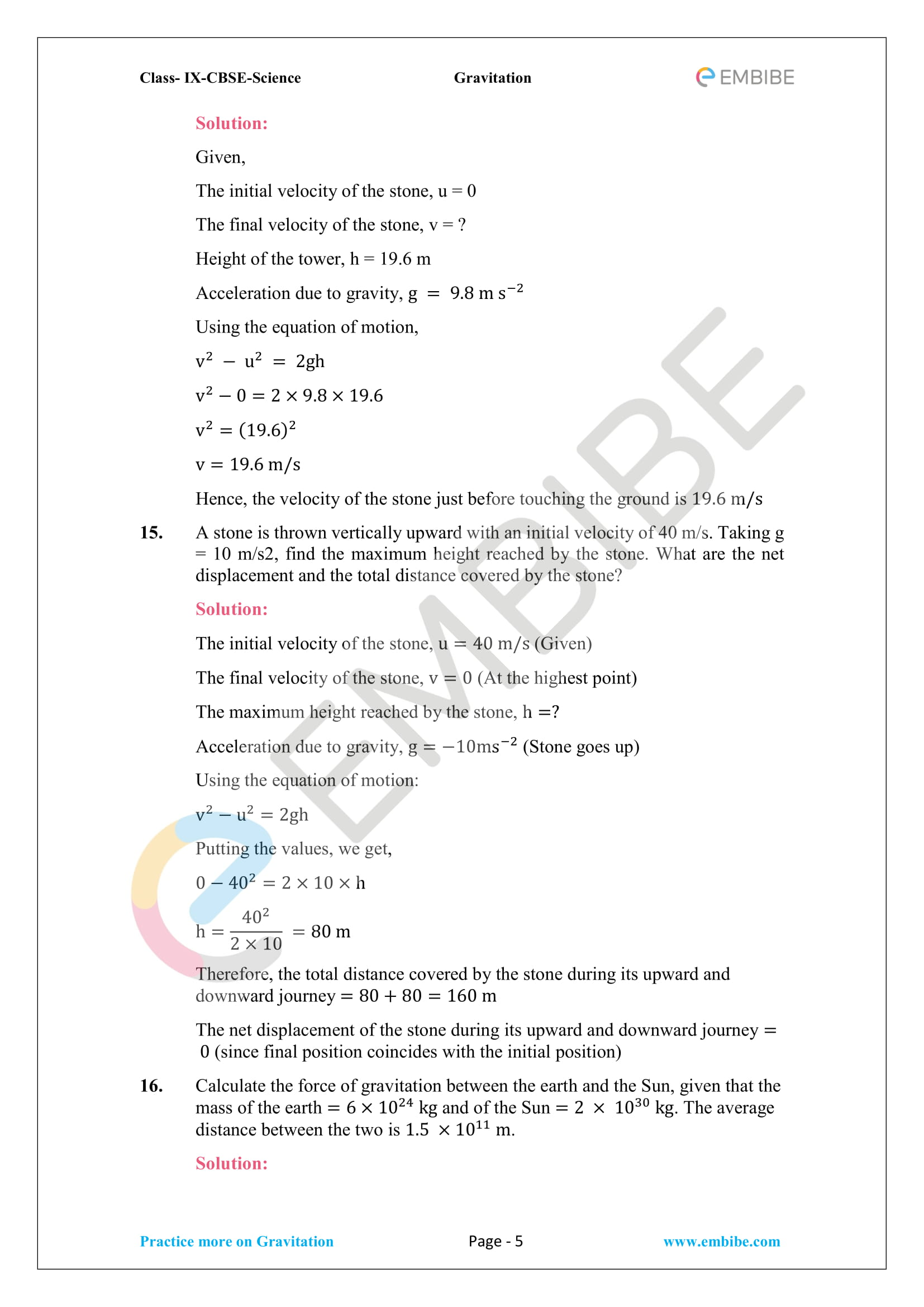 CBSE NCERT Solutions For Class 9 Science Chapter 10 – Gravitation - 5