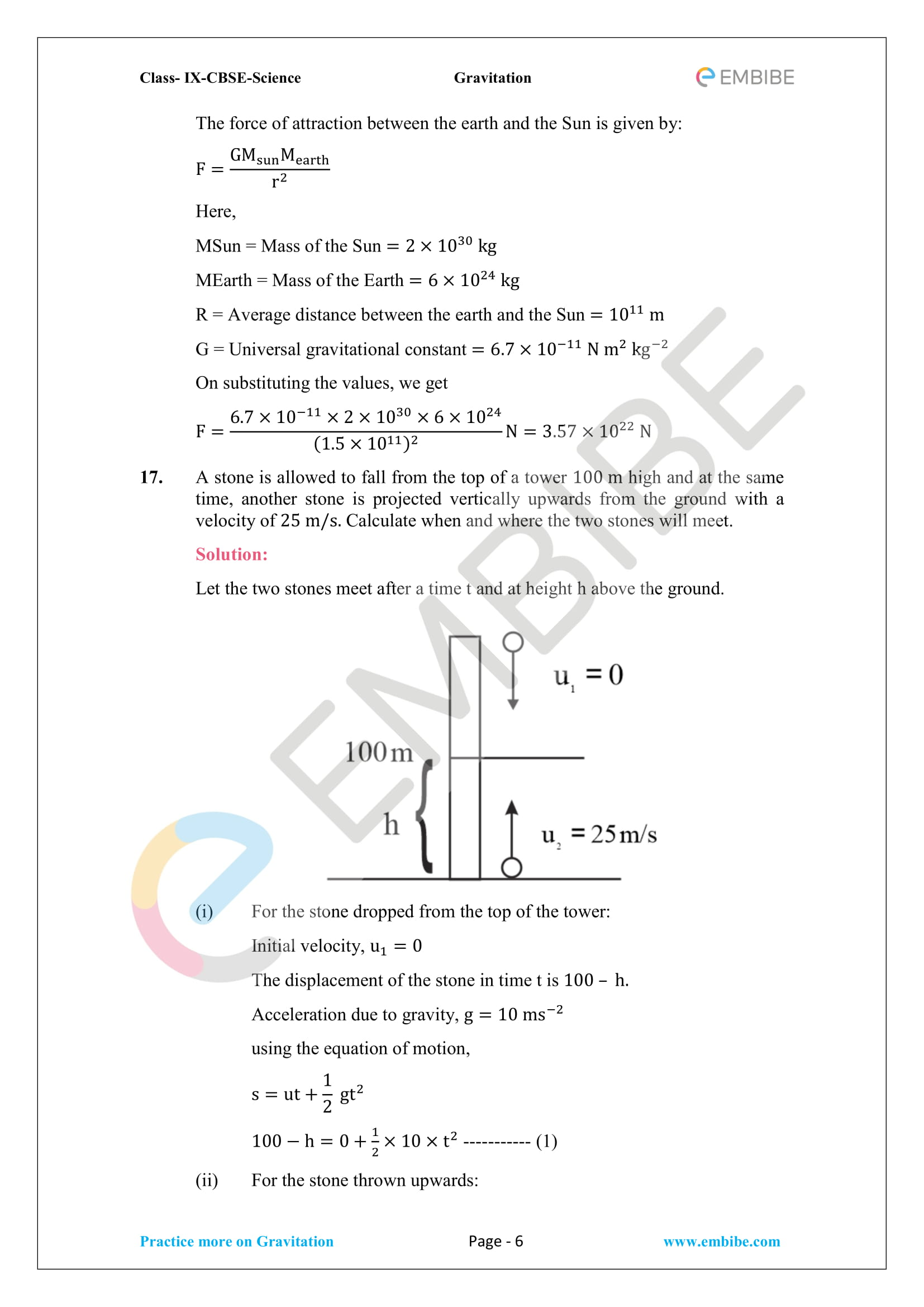 CBSE NCERT Solutions For Class 9 Science Chapter 10 – Gravitation - 6