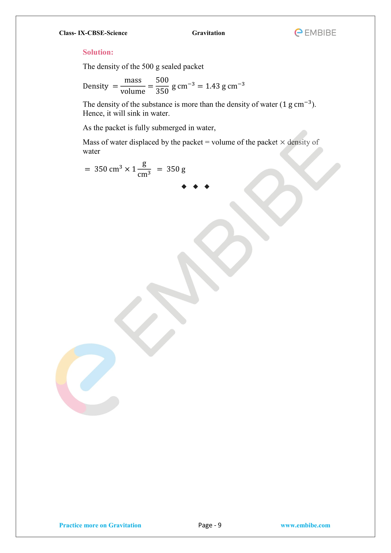CBSE NCERT Solutions For Class 9 Science Chapter 10 – Gravitation -9